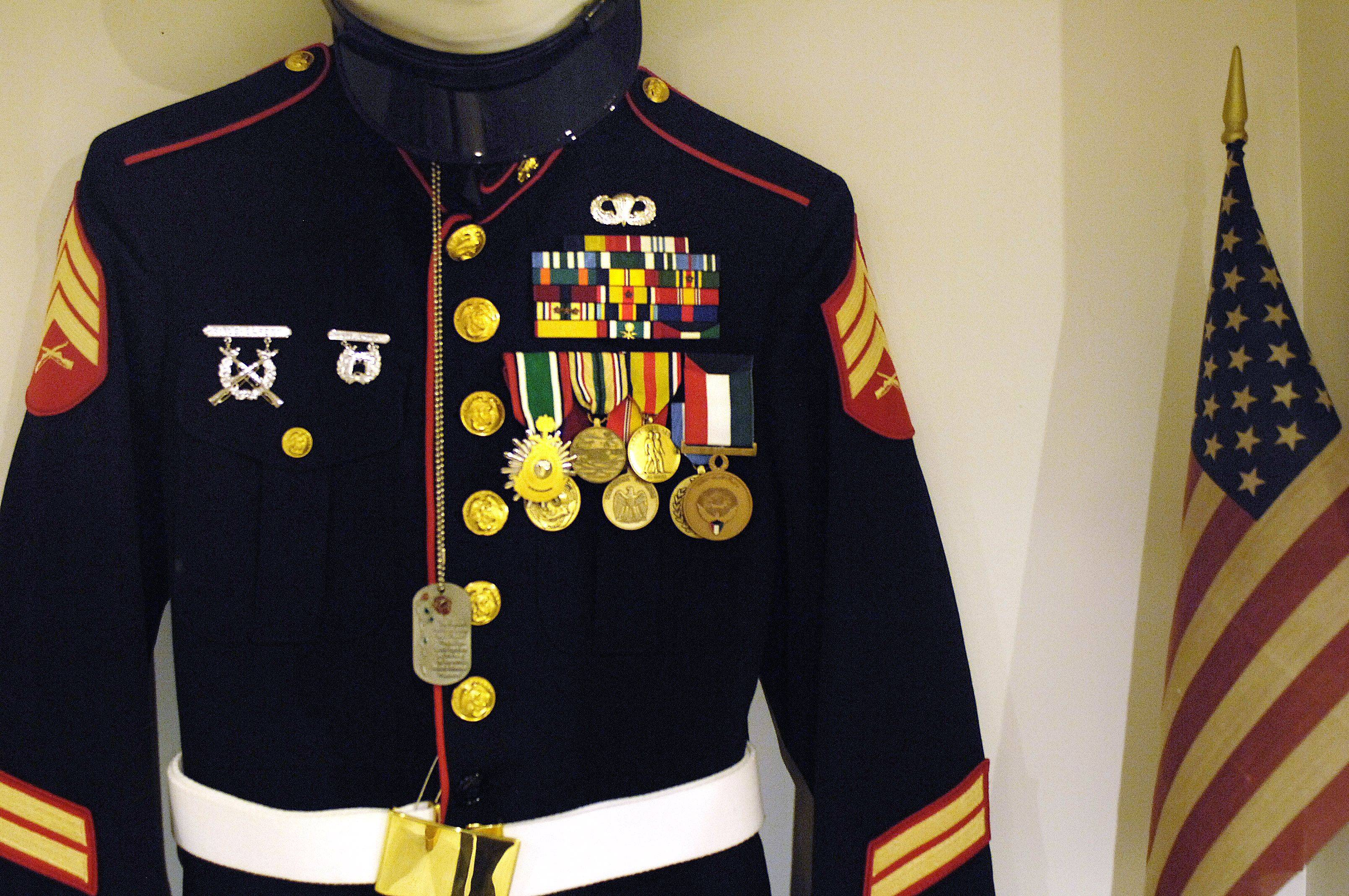 This is Dan Sauer's uniform along with medals from his time as a Marine in Desert Storm.