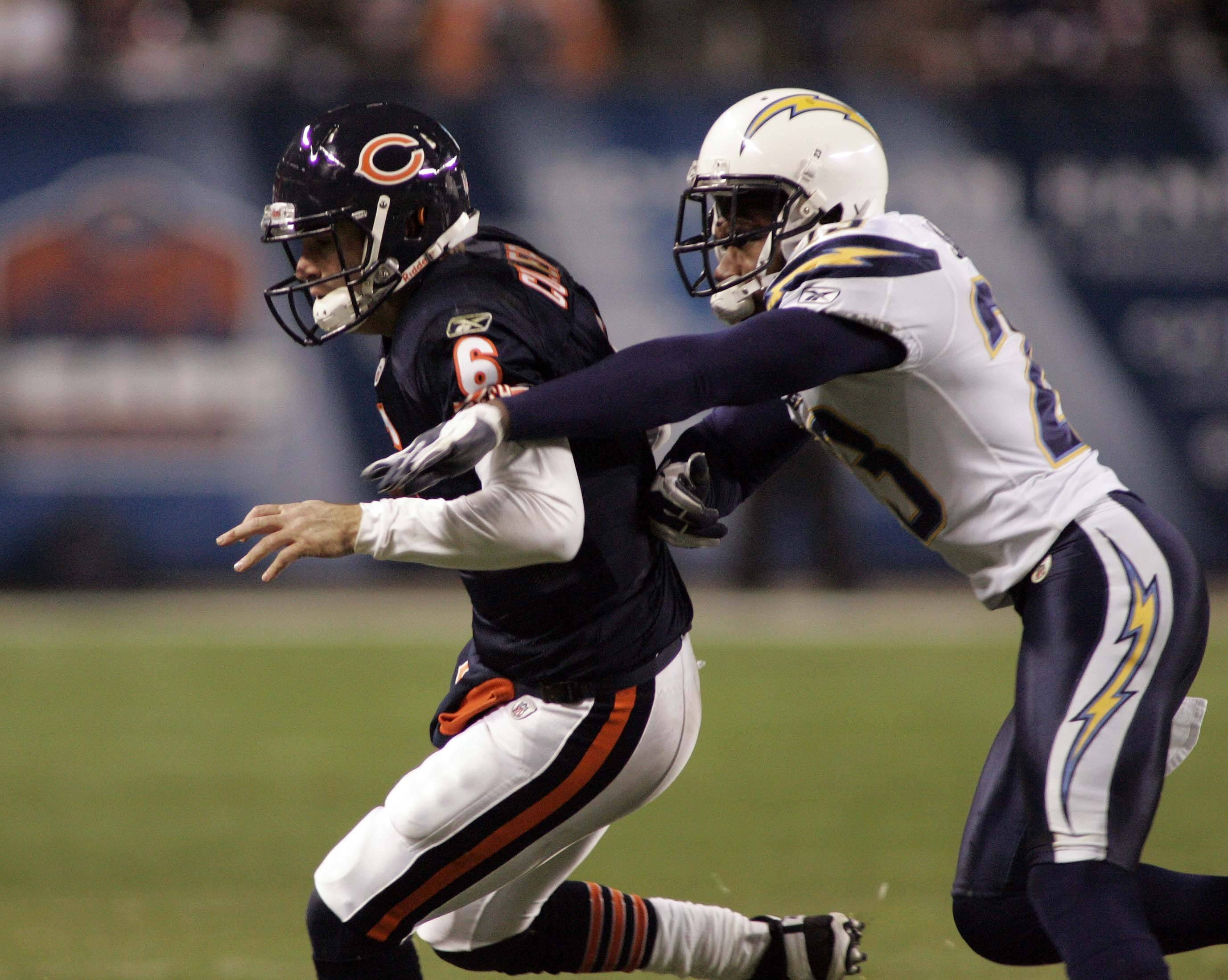Bears quarterback Jay Cutler looks for some running room in the fourth quarter during Sunday's game at Soldier Field in Chicago.