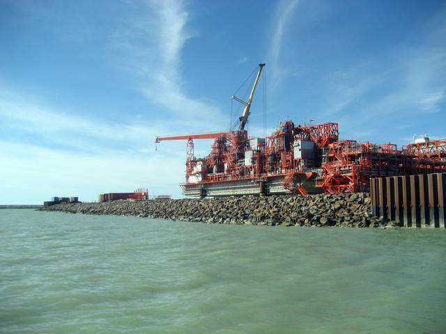 The man-made island that houses the Kashagan project, an oil drilling project operated by North Caspian Operating Co.