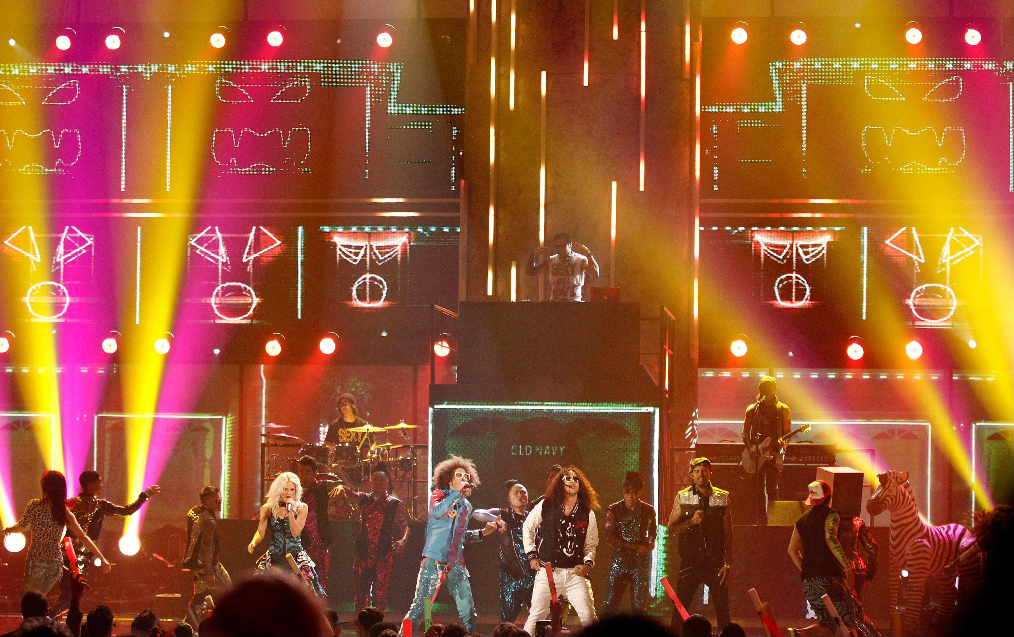 LMFAO performs at the 39th Annual American Music Awards on Sunday, Nov. 20, 2011 in Los Angeles.