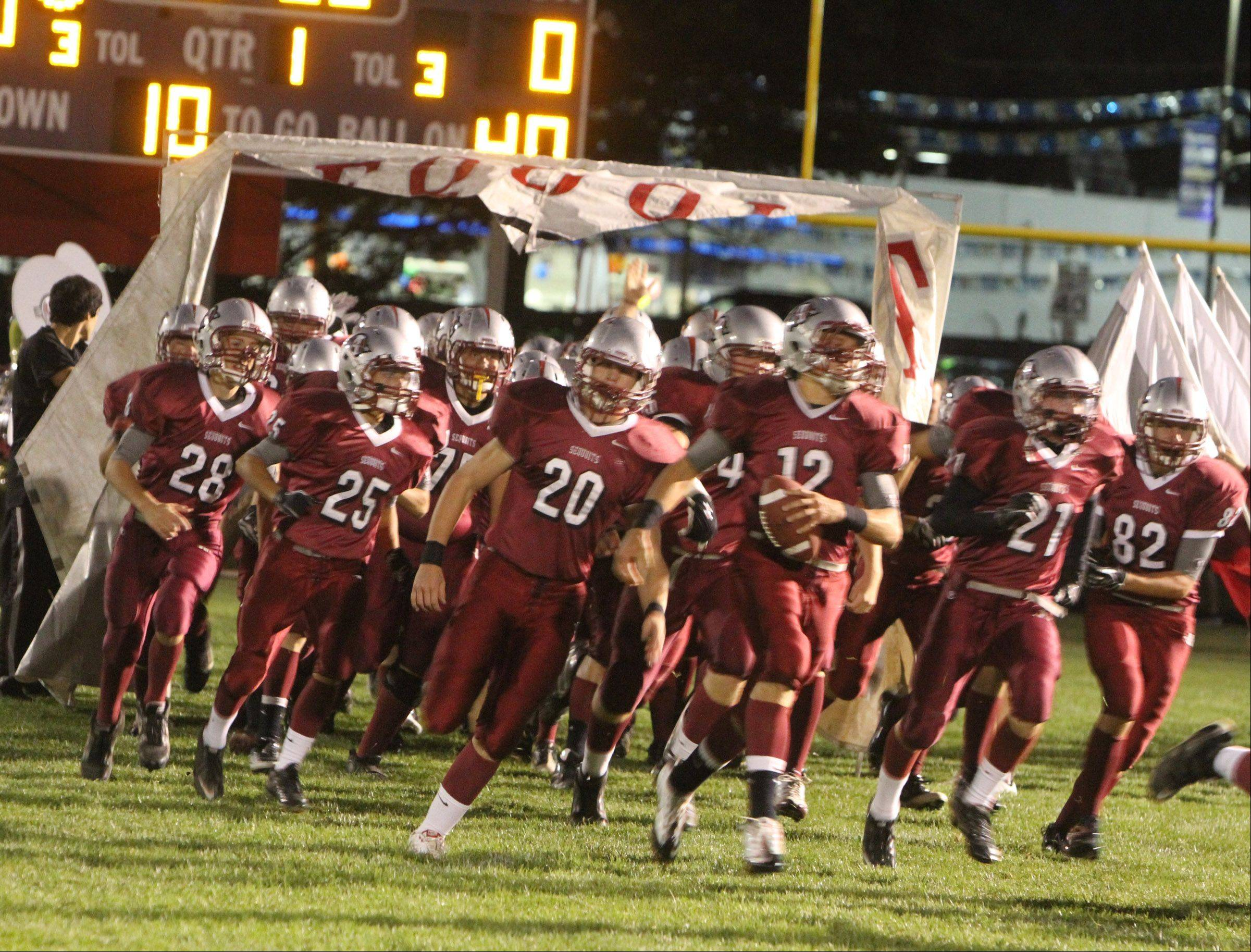 The Antioch football team takes the field in Vernon Hills on Friday, Sept. 16.