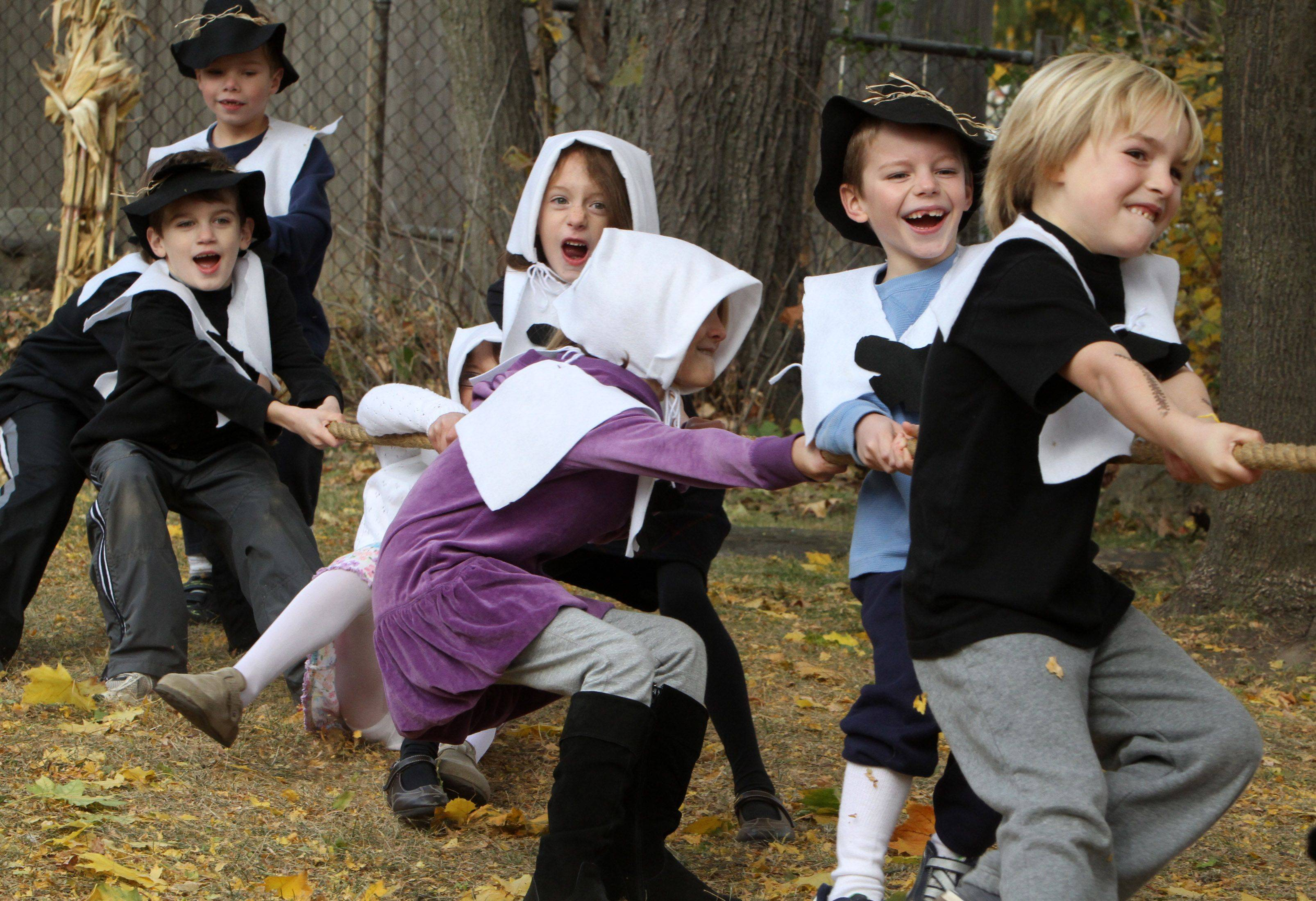 Rockland School students play games during last year's Thanksgiving feast at the Libertyville school.