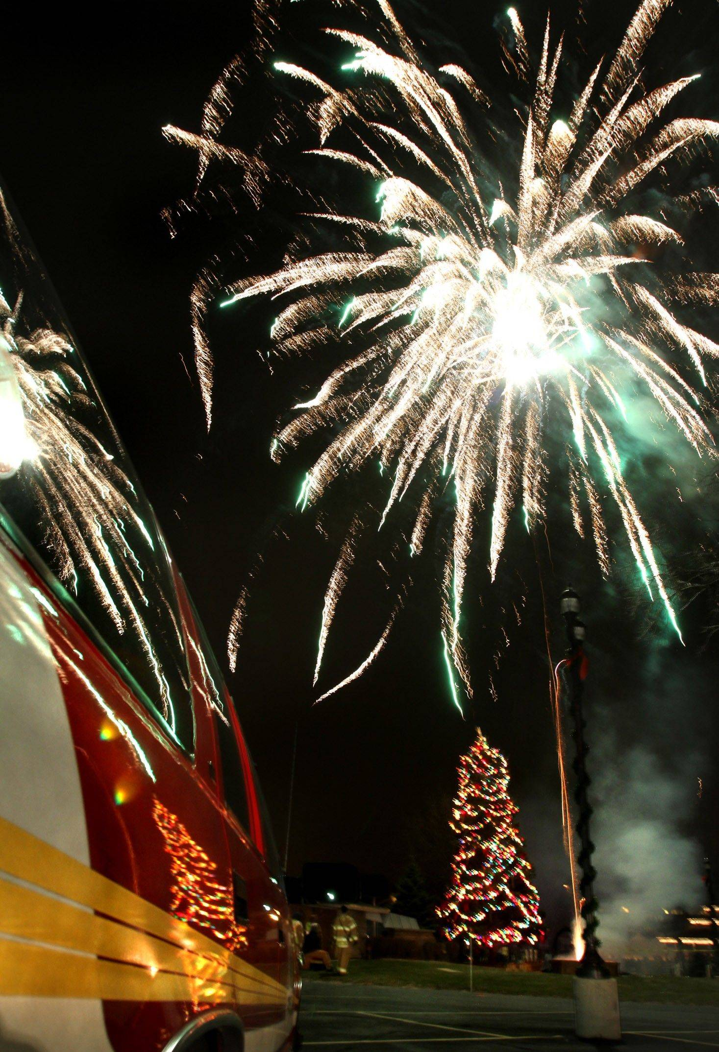 Mundelein's annual tree lighting ceremony came with fireworks in 2010.