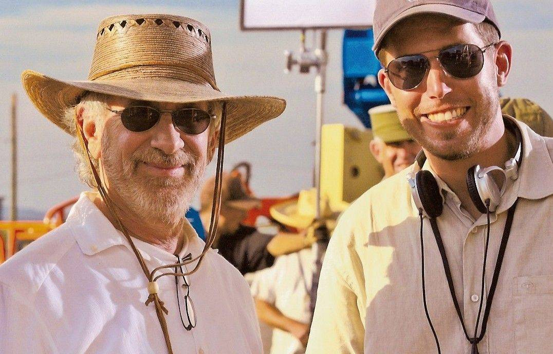 "Steven Spielberg and Ryan Suffern pose for a photo in New Mexico on the set of ""Indiana Jones and The Kingdom of the Crystal Skull."" Suffern, who grew up in Bartlett, filmed the ""behind-the-scenes"" footage for the movie."