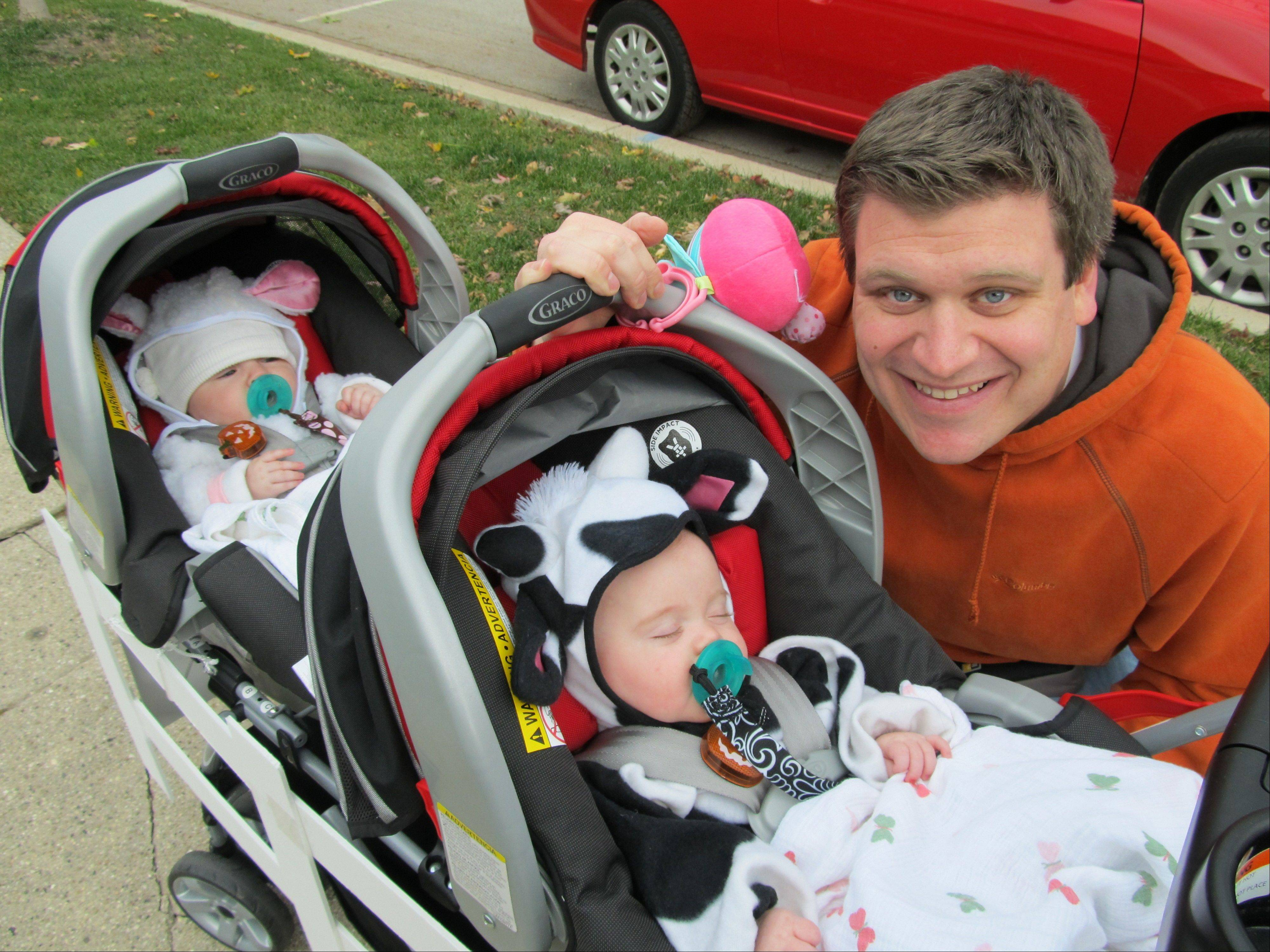 Lane Fraley of Wood Dale with the quadruplets. Nurses donated diapers and formula.