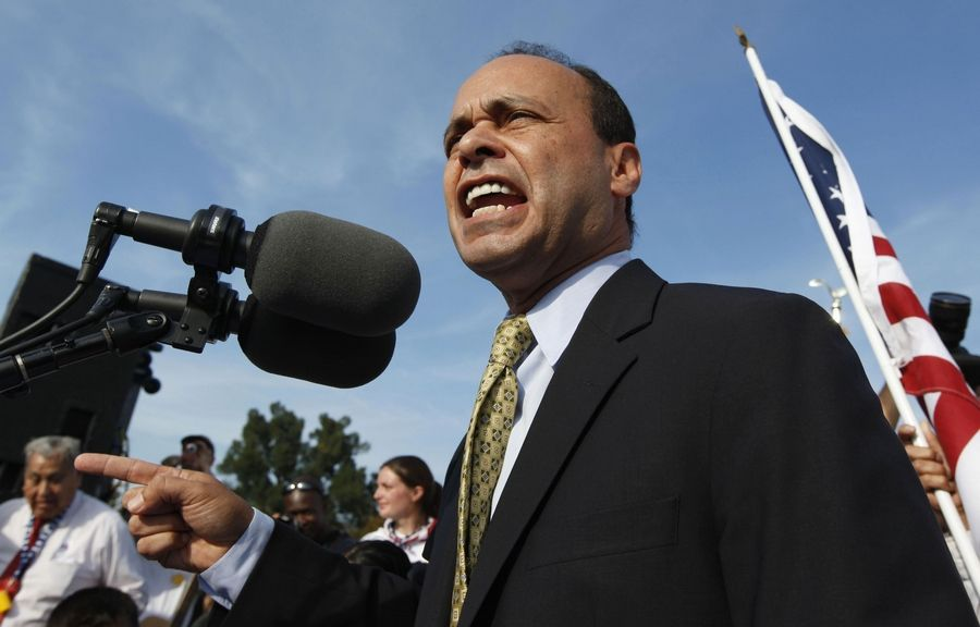 Congressman Luis Gutierrez, a Chicago Democrat, speaks at a rally for immigration reform on the grounds of the U.S. Capitol in Washington.