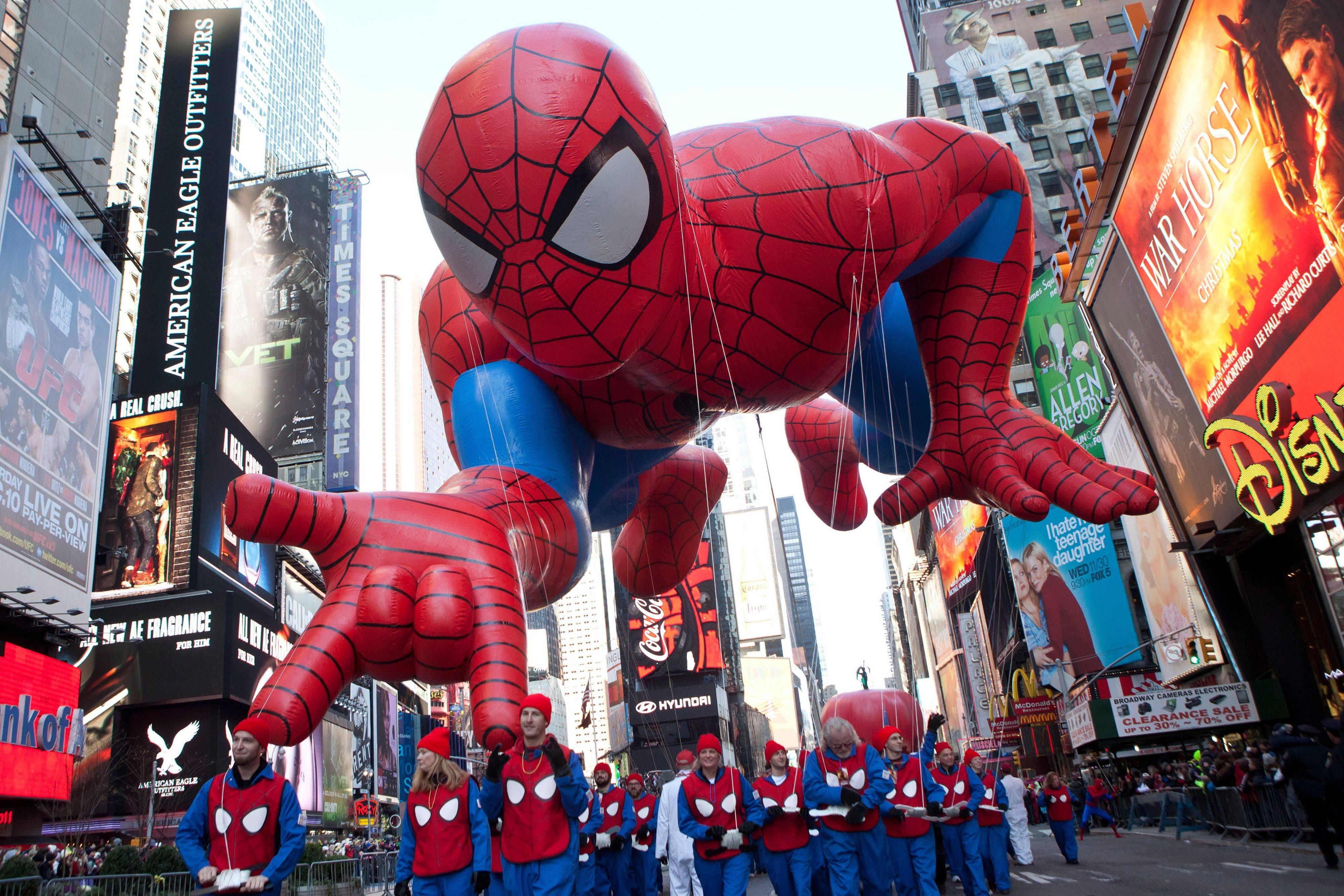 "The ""Spiderman"" float is seen during the Macy's Thanksgiving Day Parade in Times Square in New York on Thursday, Nov. 24, 2011. The parade premiered in 1924, this is its 85th year."