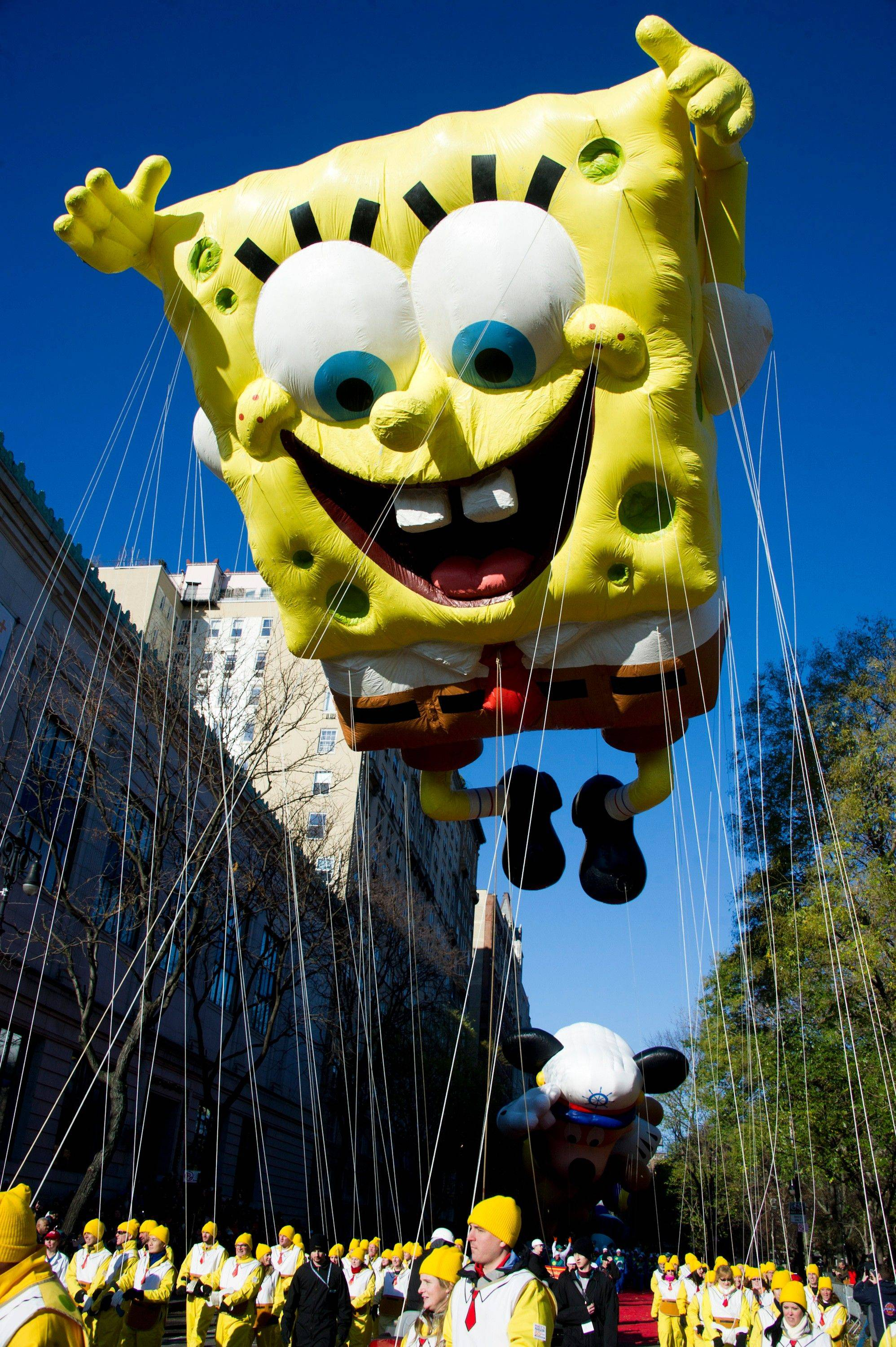The SpongeBob SquarePants balloon floats in the Macy's Thanksgiving Day Parade in New York, Thursday, Nov. 24, 2011.