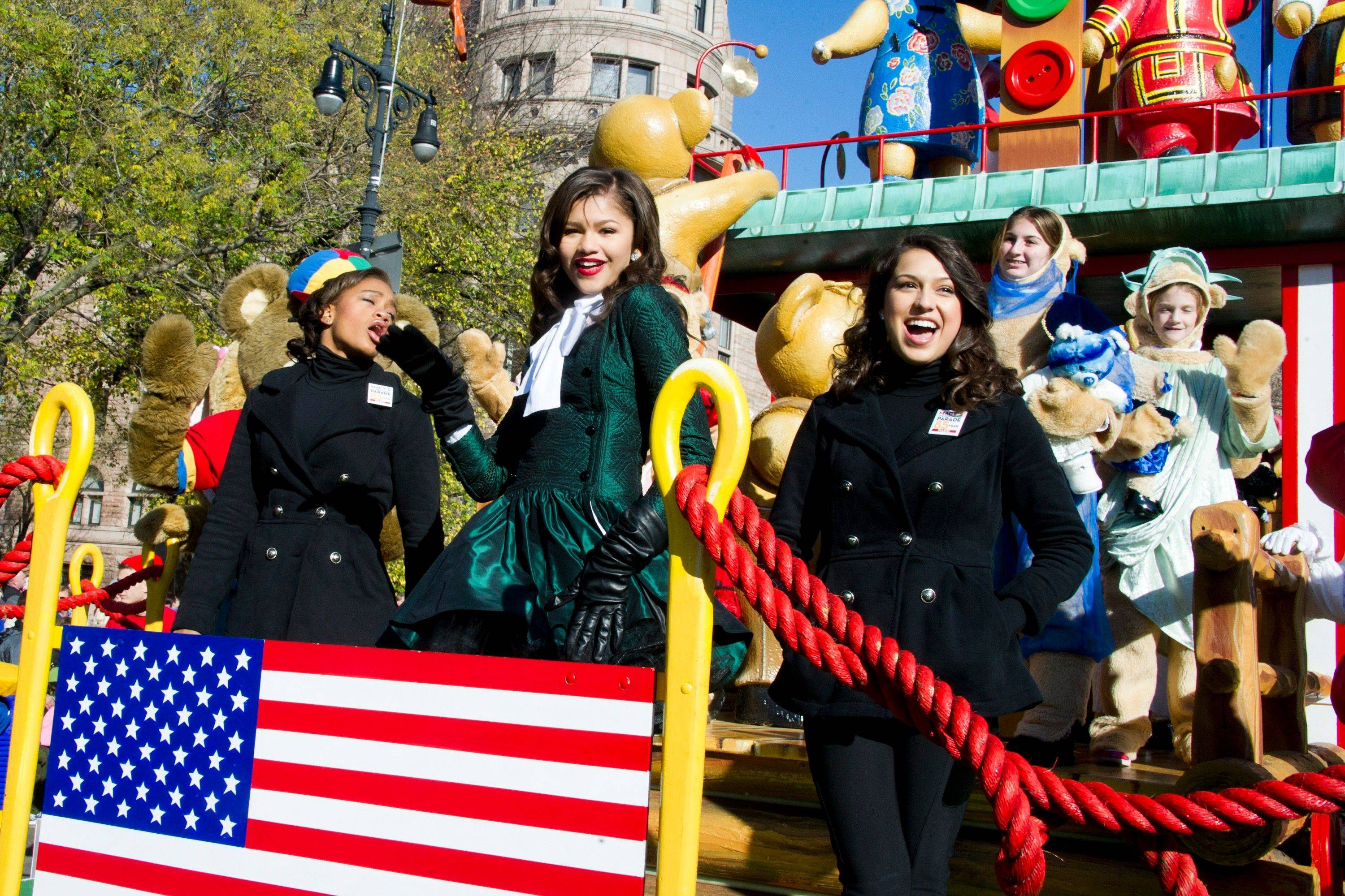 Zendaya Coleman rides a float in the Macy's Thanksgiving Day Parade in New York, Thursday, Nov. 24, 2011. A jetpack-wearing monkey and a freakish creation from filmmaker Tim Burton are two of the big new balloons that will make their inaugural appearances in front of millions of people at this year's parade.