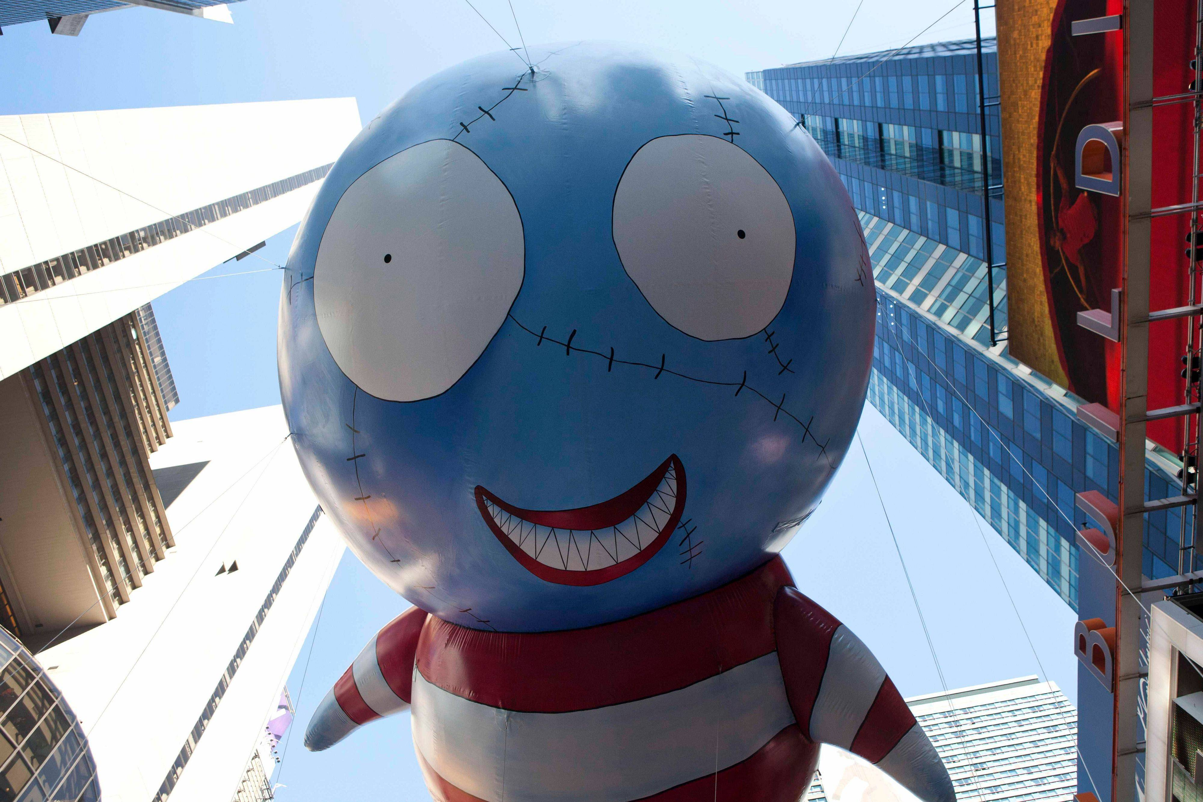 'B,' designed by Tim Burton, floats during the Macy's Thanksgiving Day Parade in Times Square in New York on Thursday, Nov. 24, 2011. The parade premiered in 1924, this is its 85th year.