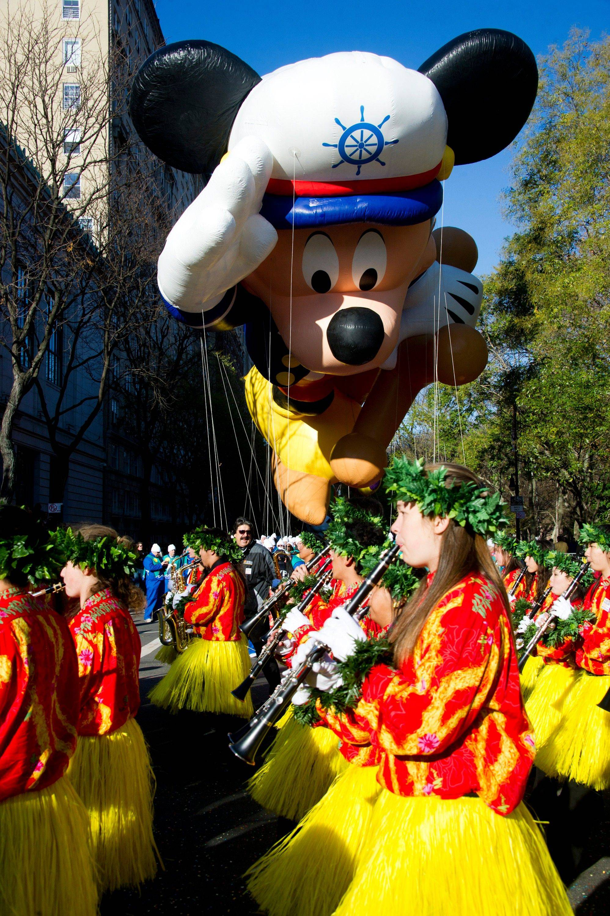 The Sailor Mickey balloon floats in the Macy's Thanksgiving Day Parade in New York, Thursday, Nov. 24, 2011.