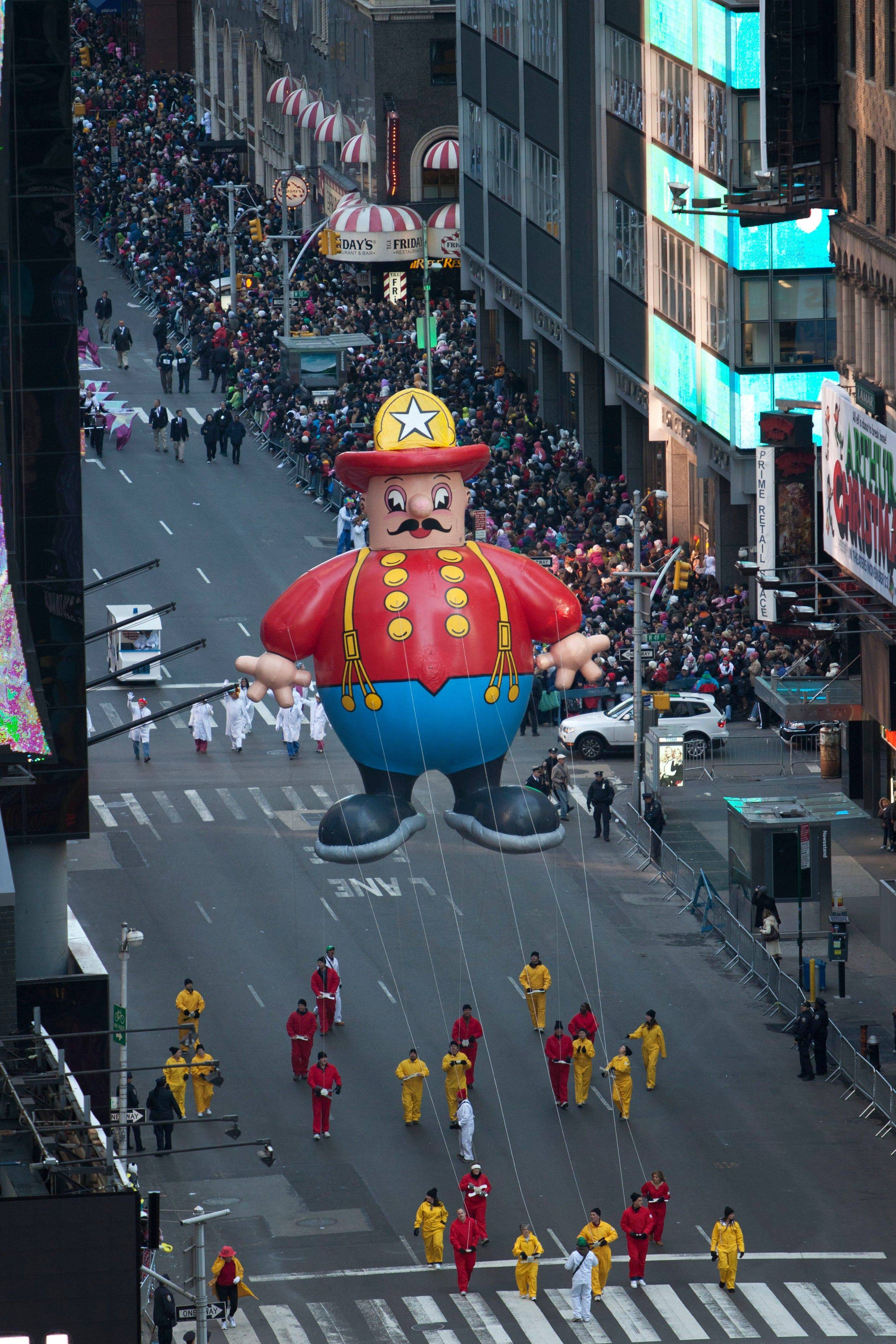 The 'Harold the Fireman' float is seen during the Macy's Thanksgiving Day Parade in Time Square in New York on Thursday, Nov. 24, 2011. The parade premiered in 1924, this is its 85th year.