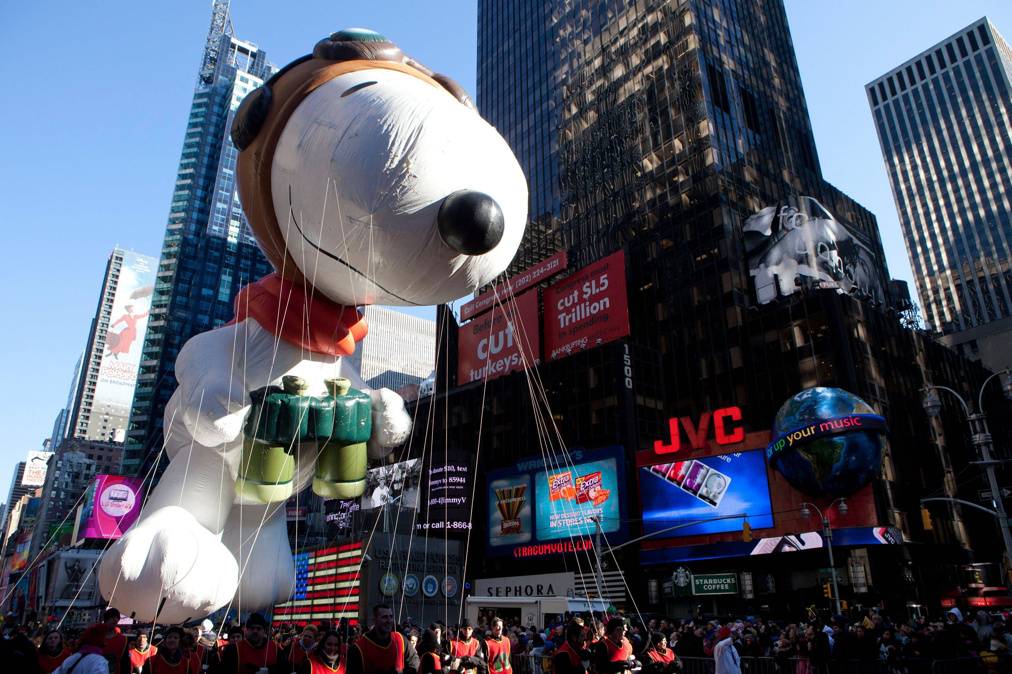 "The ""Snoopy"" float is seen during the Macy's Thanksgiving Day Parade in Times Square in New York on Thursday, Nov. 24, 2011. The parade premiered in 1924, this is its 85th year."