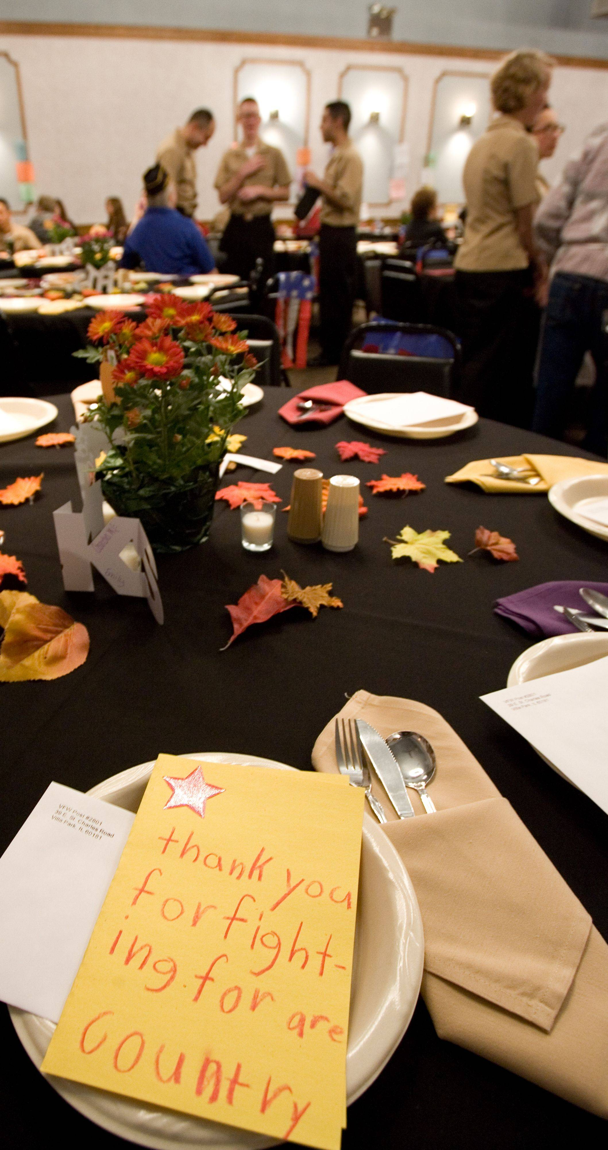 The table is set for Great Lakes Navy recruits to enjoy Thanksgiving at Villa Park VFW Post 2801.