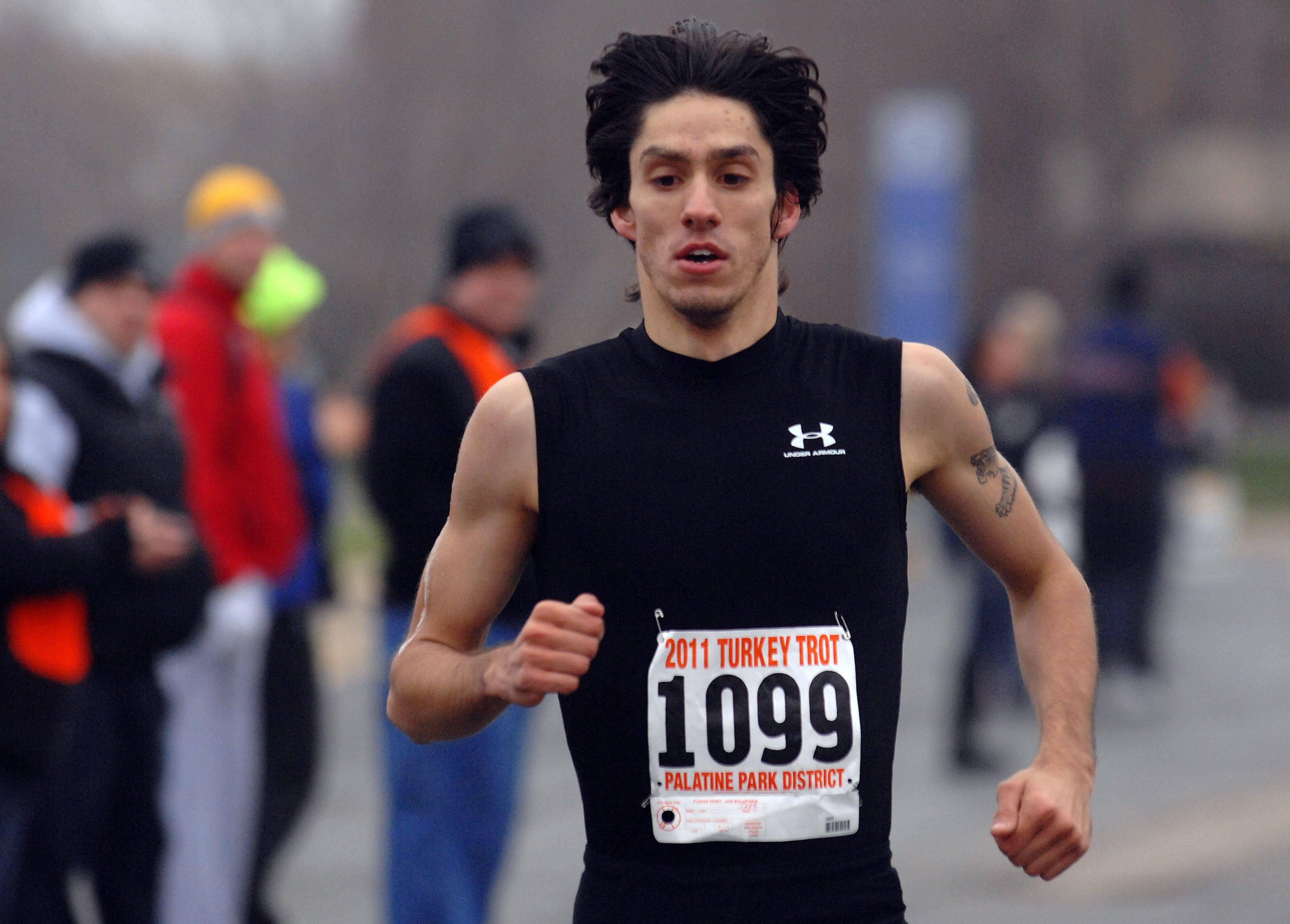 Jeff Thode of Schaumburg entered and won both the two-mile and five-mile Palatine Turkey Trot races on Thursday morning.