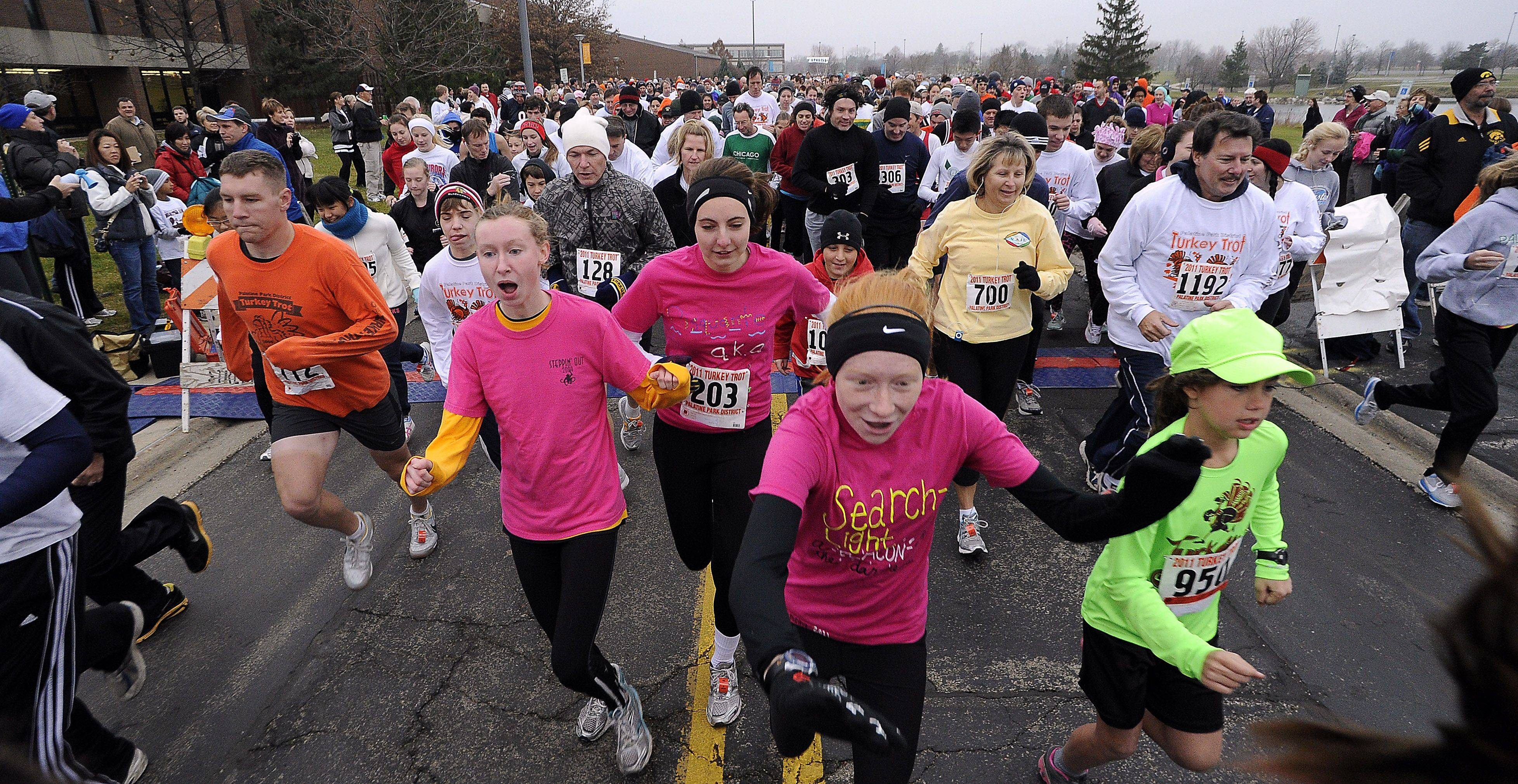 The Palatine Turkey Trot two-mile race begins at Harper College.