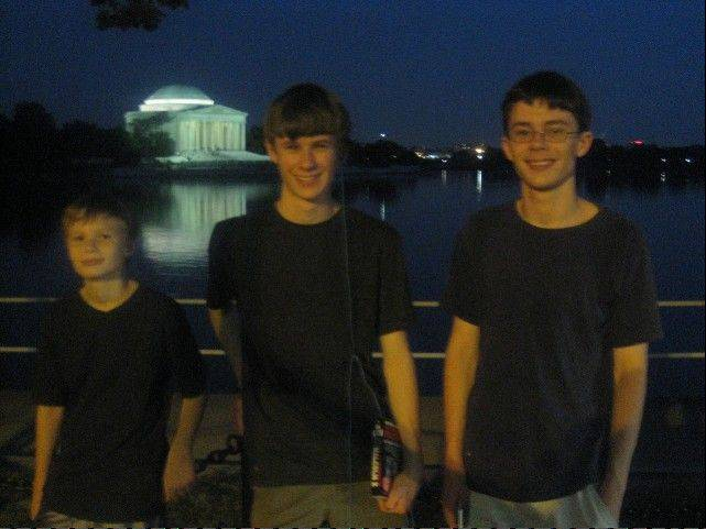 There was no rest for the weary during our family vacation to Washington, as, from left, Will, Ross and Ben trekked late into the night to see all the sites.