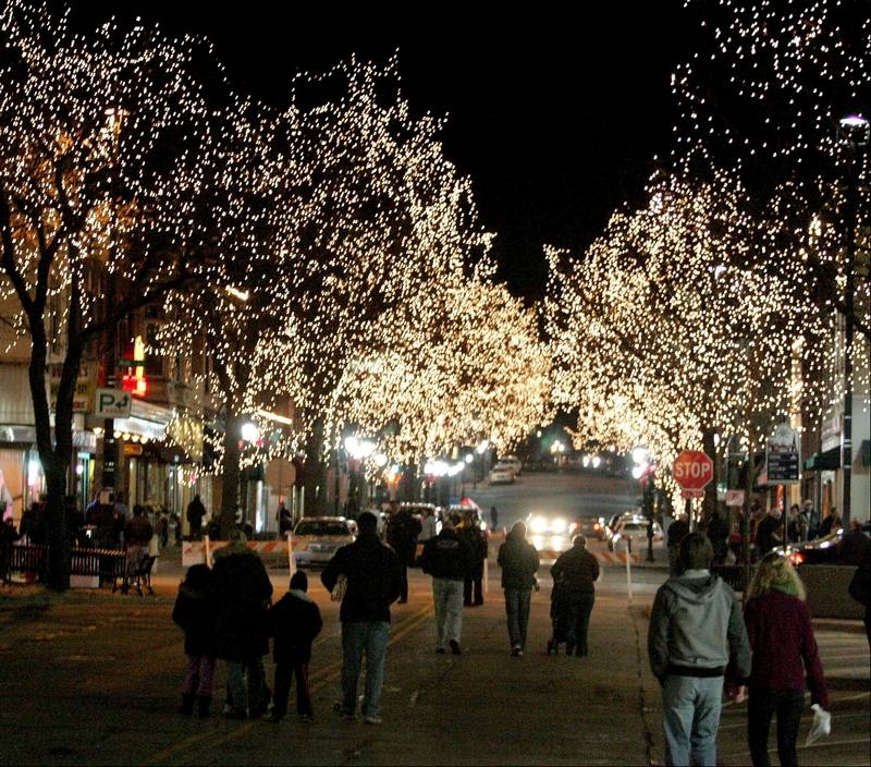 the grand illumination will turn on about 300000 lights throughout downtown naperville