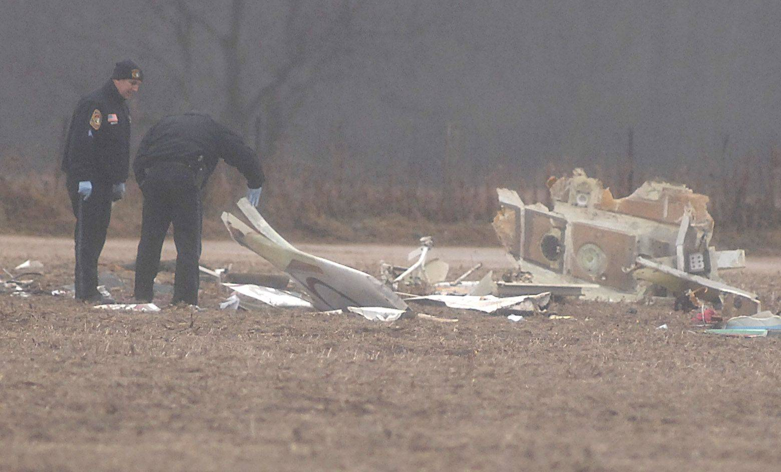 This is the scene of the fatal plane crash Saturday near Crystal Lake.