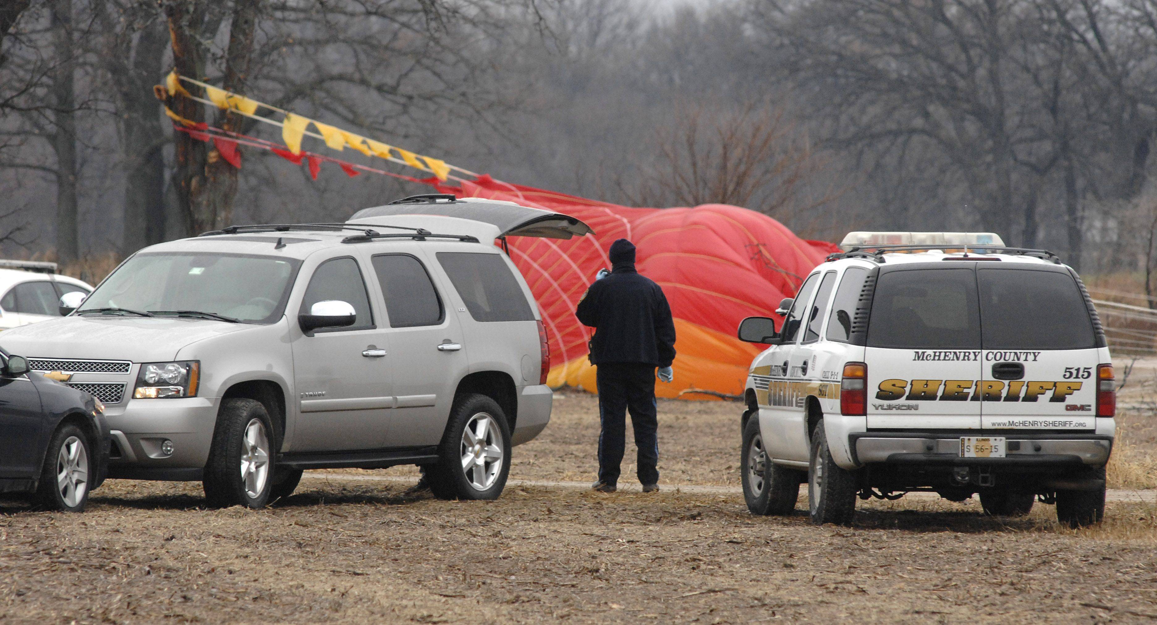 This is the parachute for the plane that crashed Saturday morning at Route 14 and Ridgefield Road near Crystal Lake.