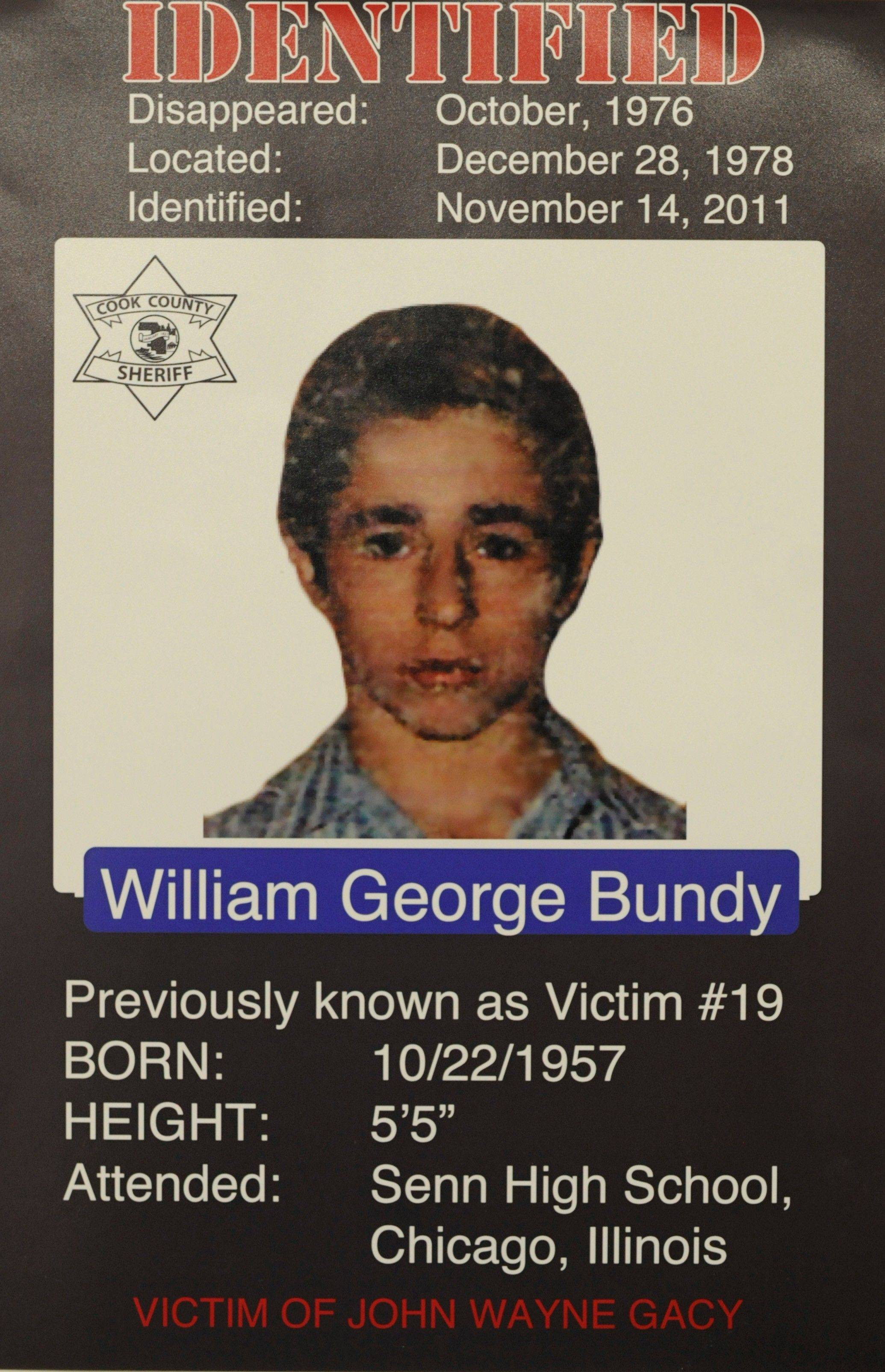 William George Bundy in a school I.D. photo from Senn High School. Bundy was a 19-year-old Chicago construction worker who disappeared in 1976.