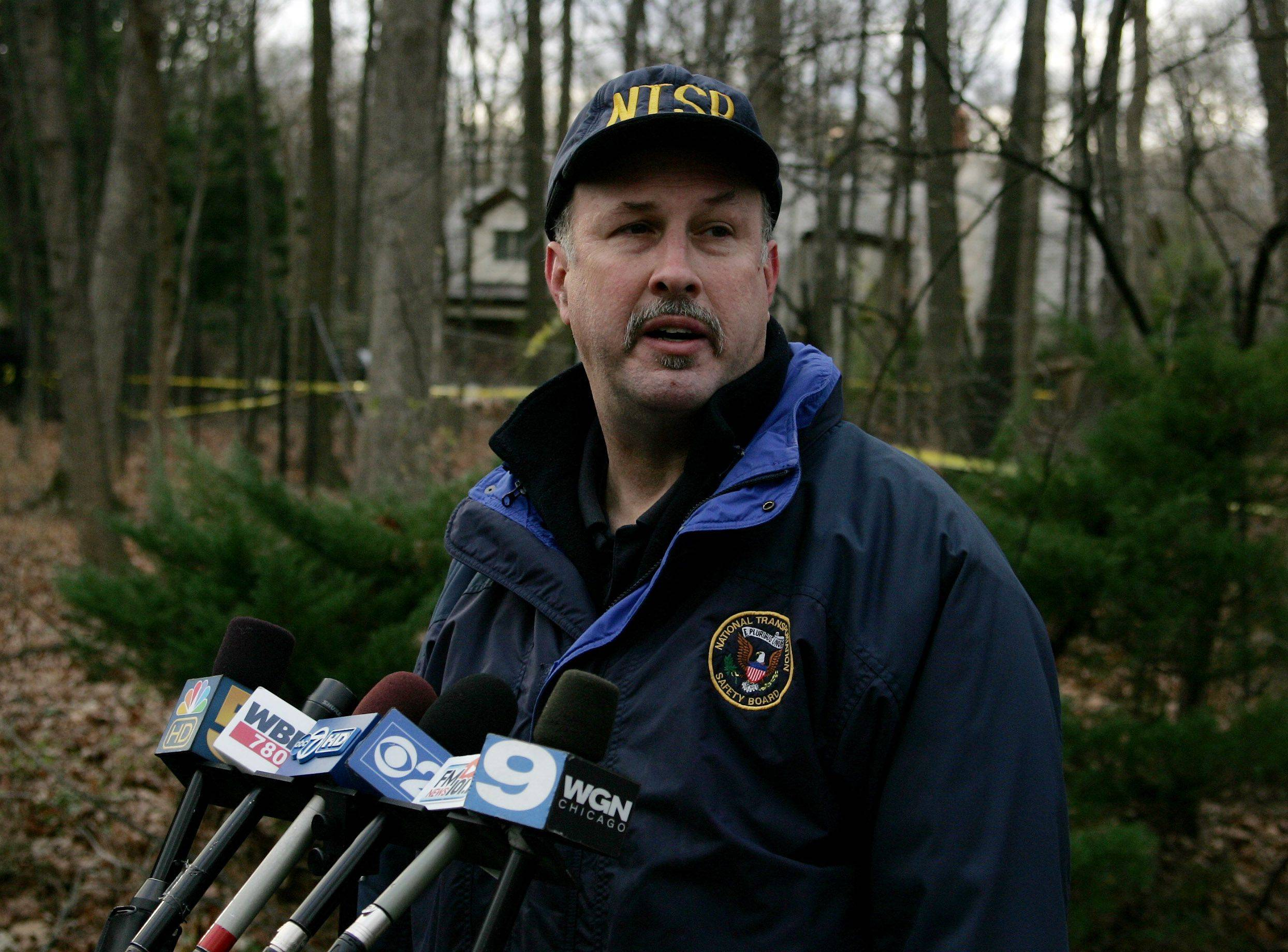 NTSB investigator Ed Malinowski talks Tuesday about the fatal plane crash in Riverwoods.