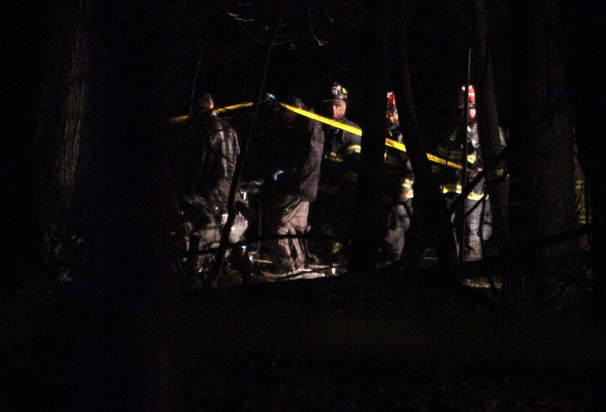 Firefighters at the scene of the plane crash on Portwine Road in Riverwoods.