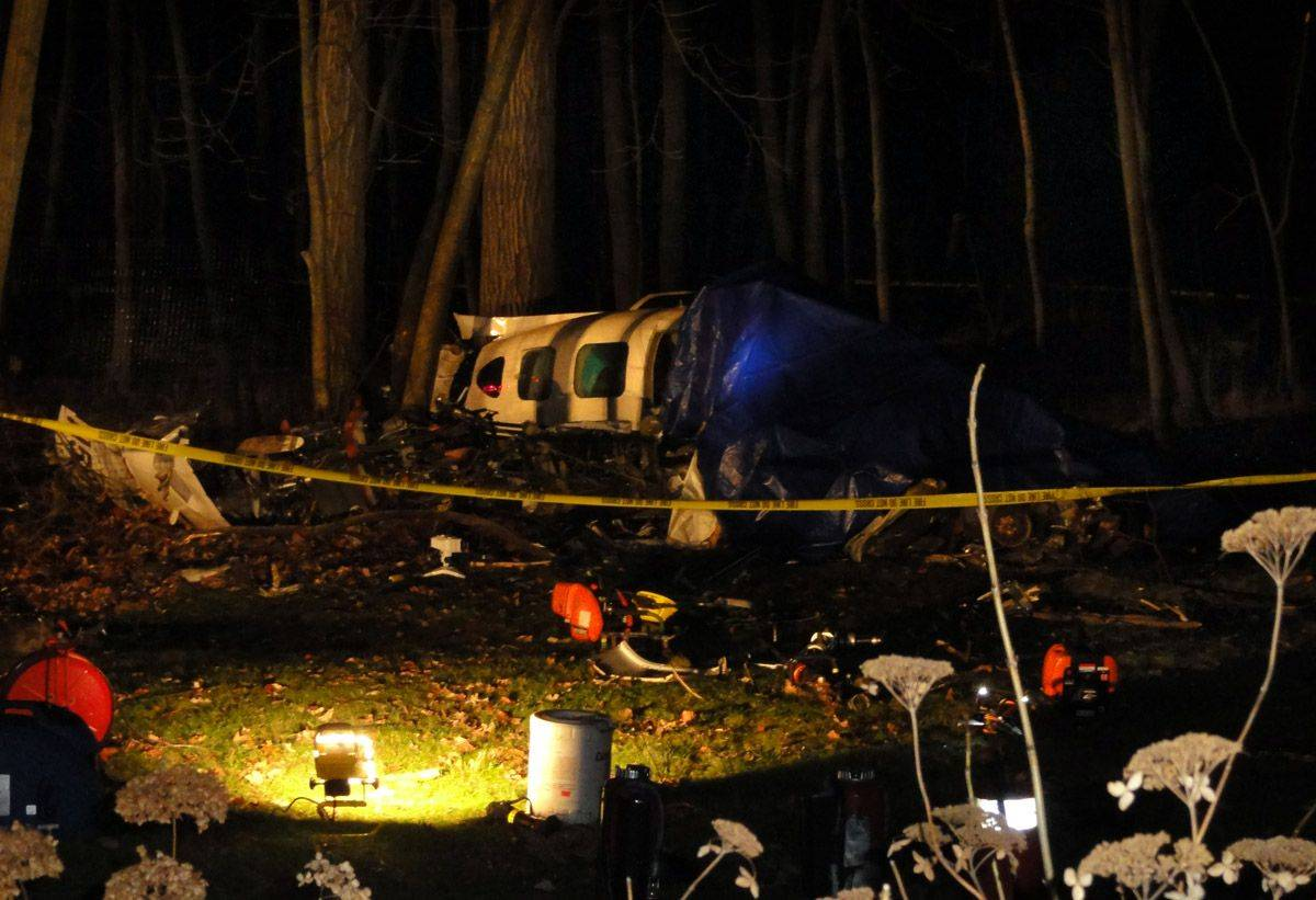 The scene of the fatal plane crash on Portwine Road near John McGuire's home in Riverwoods.