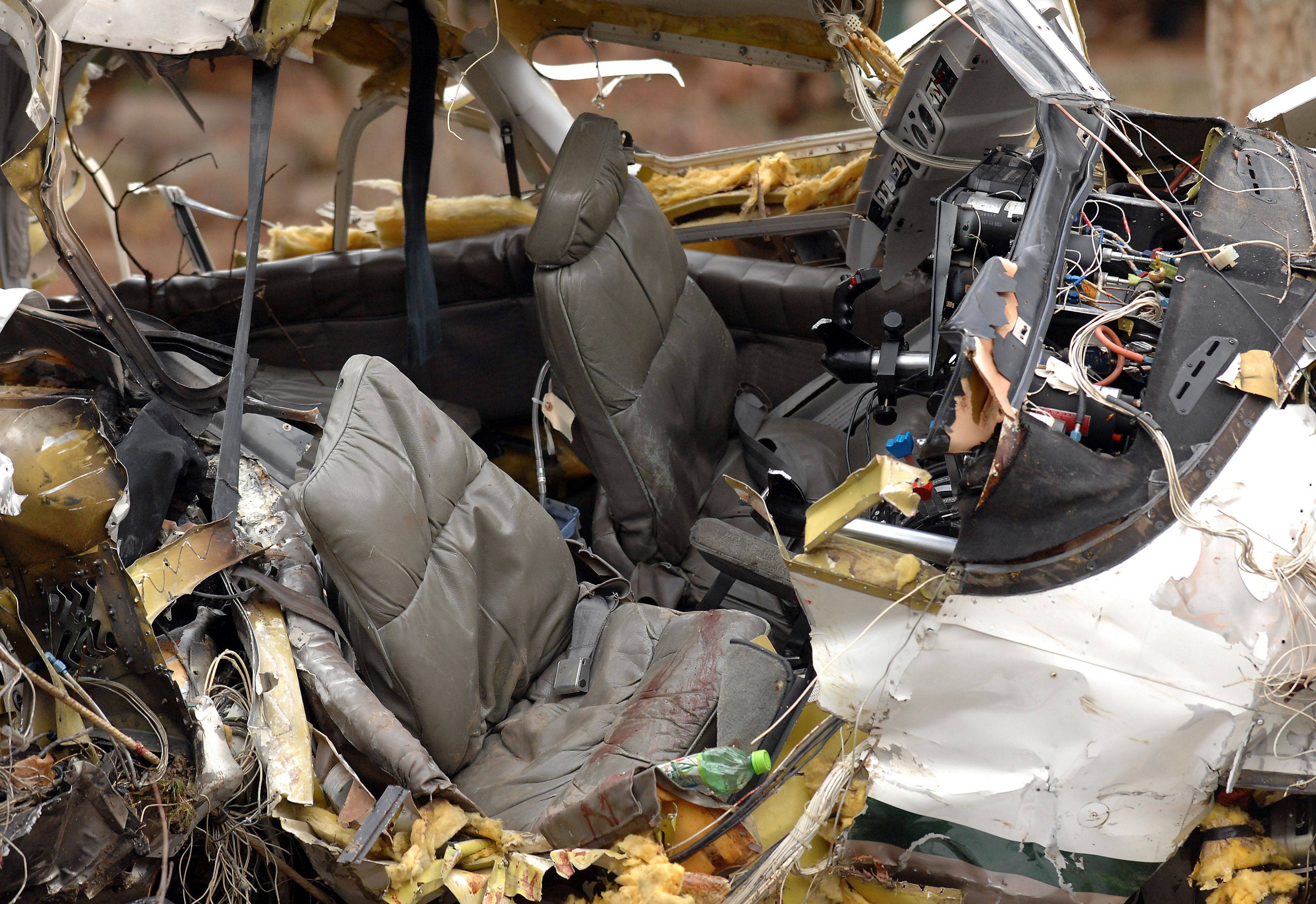 The pilot and co-pilot seats inside the wreckage of the plane that crashed in Riverwoods Monday night.