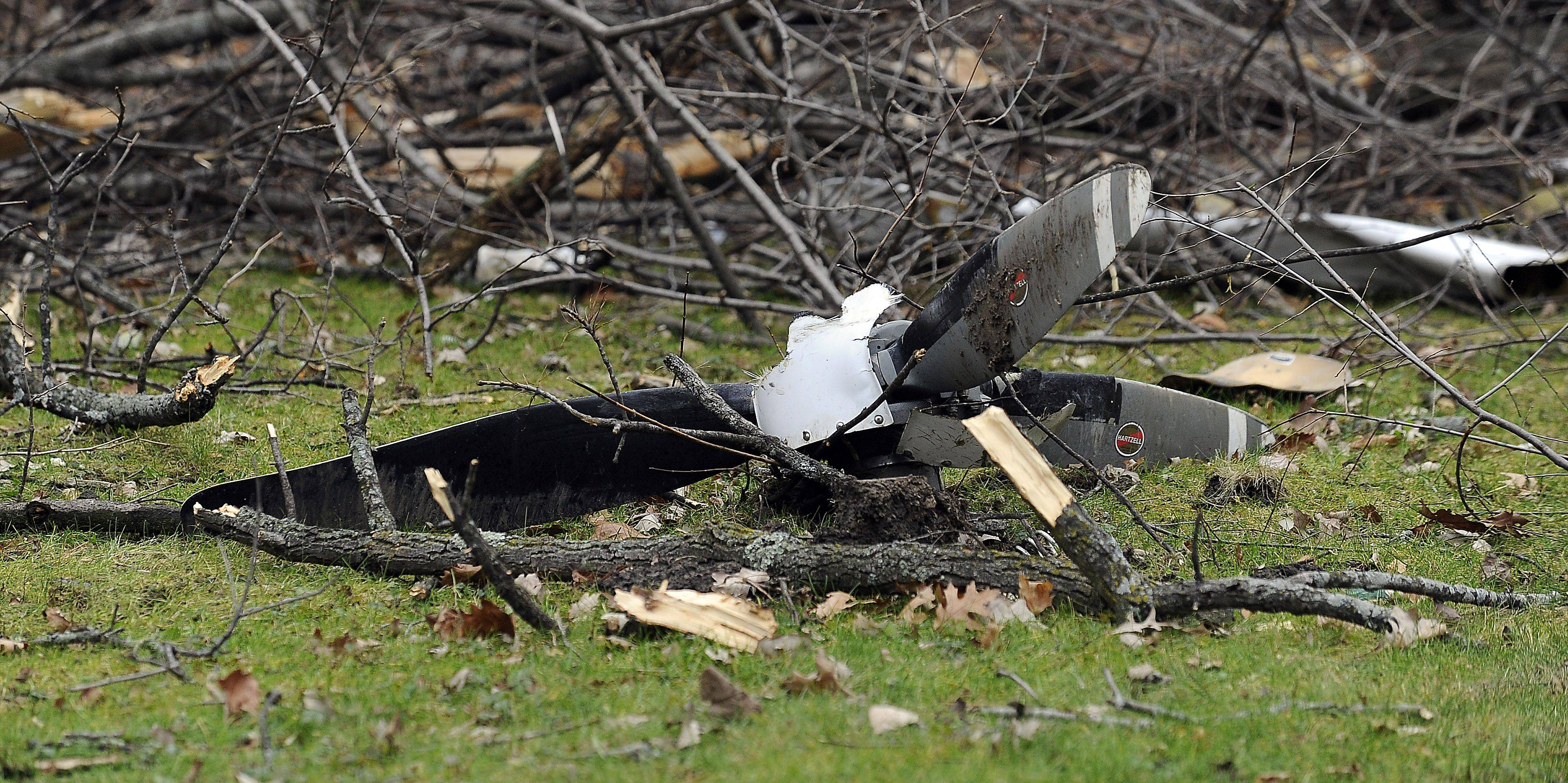 The site of the Riverwoods plane crash Tuesday that killed three people Monday night.