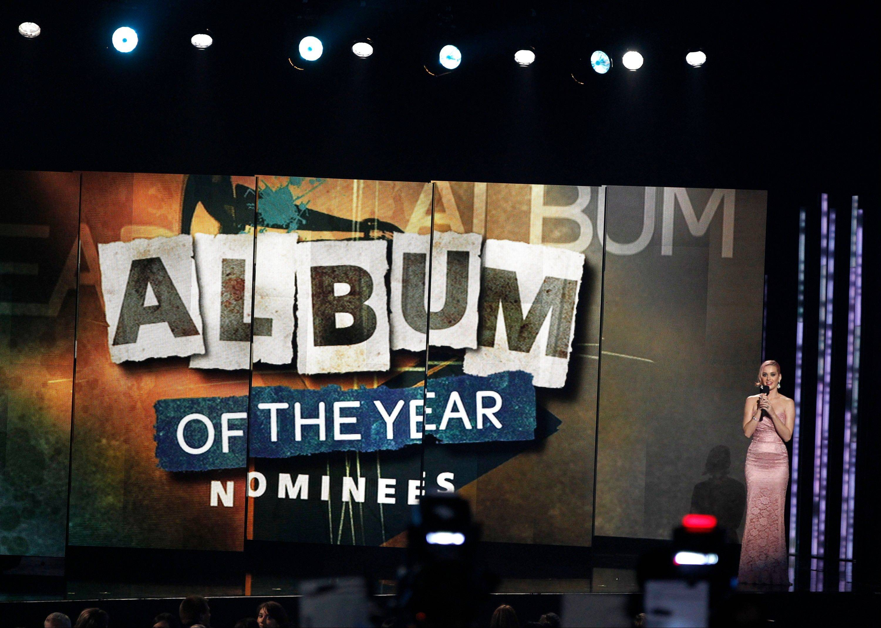 Katy Perry announces the album of the year nominees Wednesday at the Grammy Nominations Concert in Los Angeles.