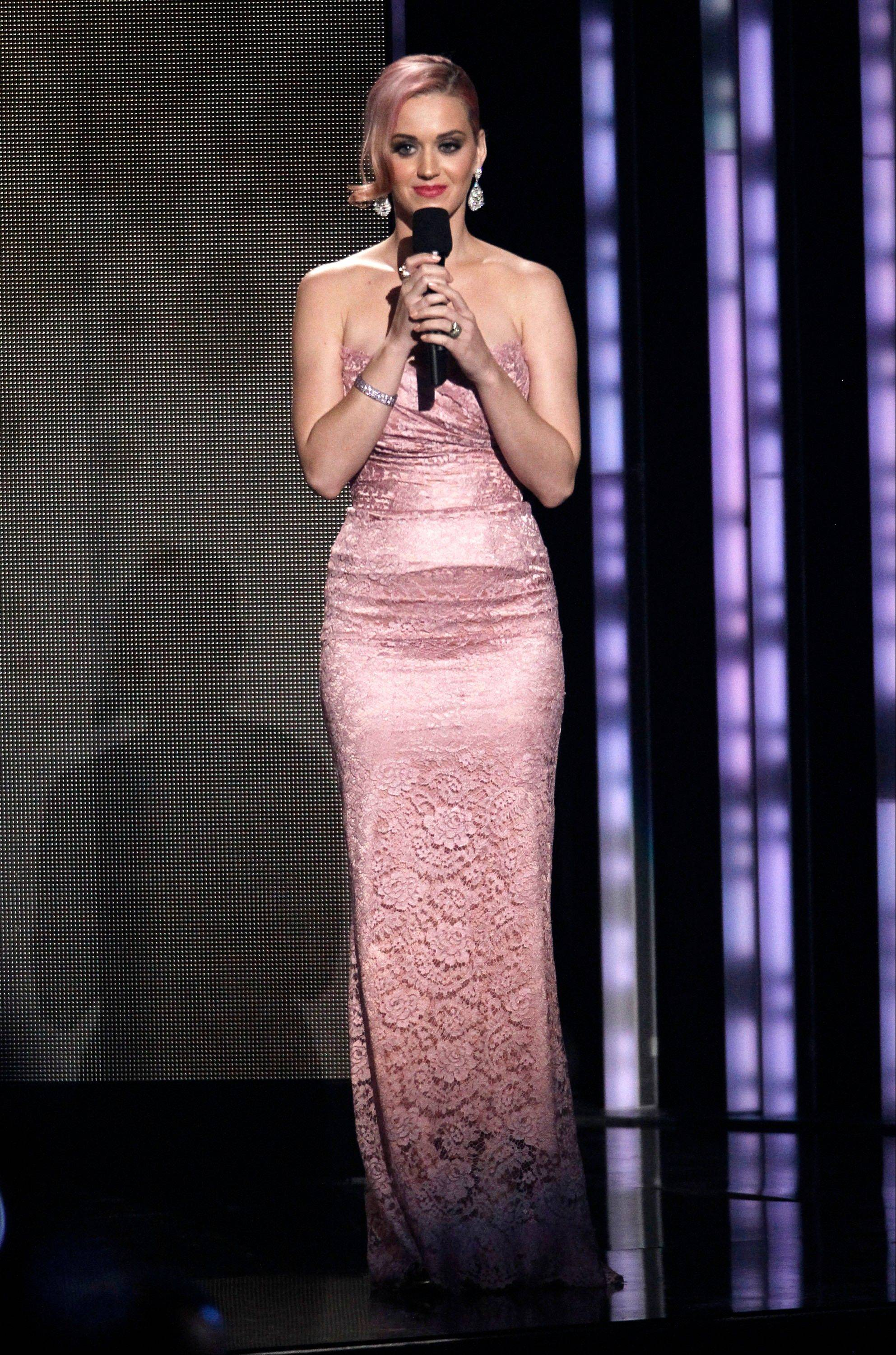 Katy Perry announces the album of the year nominees Wednesday at the Grammy Nominations Concert.