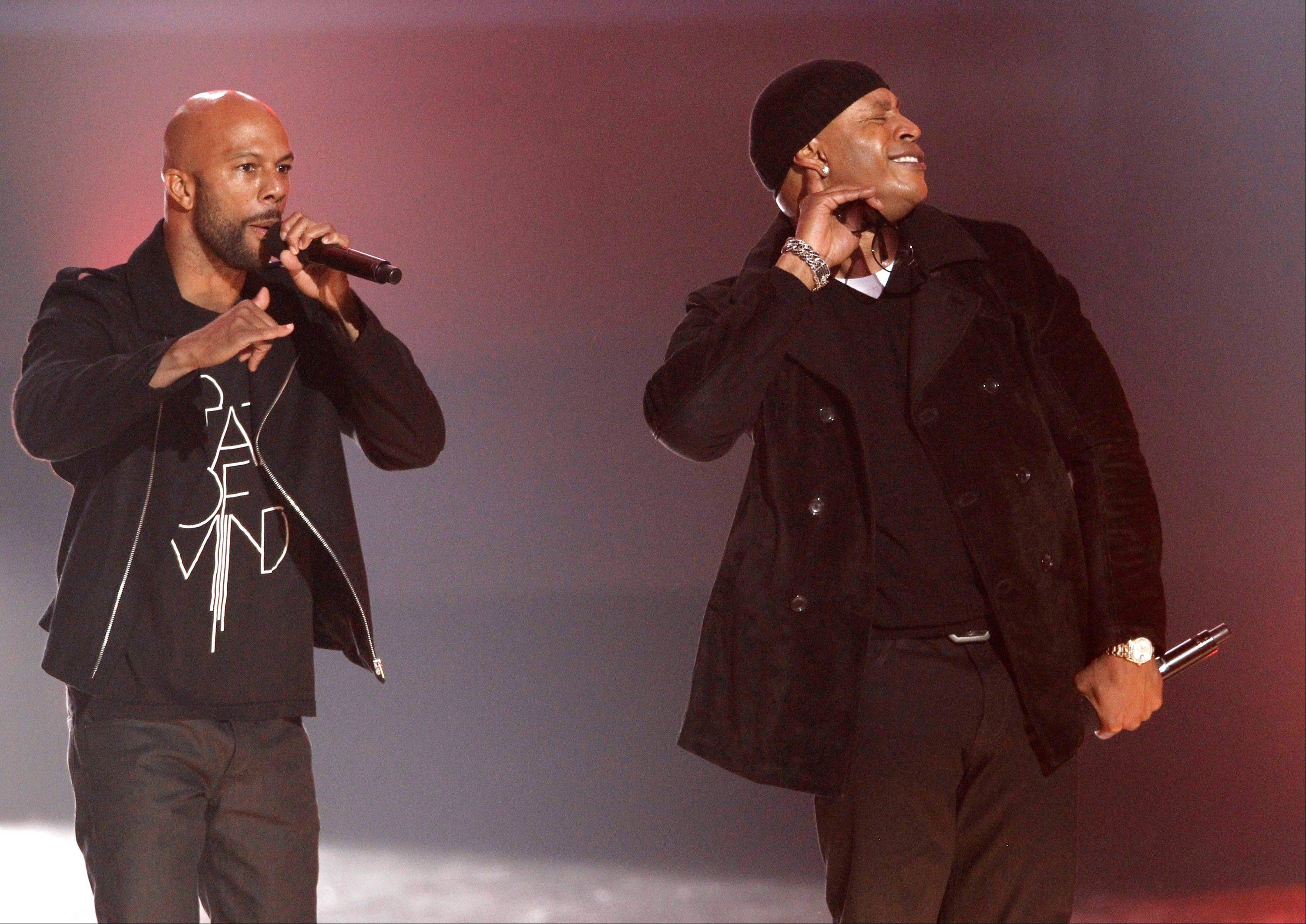 Common, left, and LL Cool J perform Wednesday at the Grammy Nominations Concert in Los Angeles.
