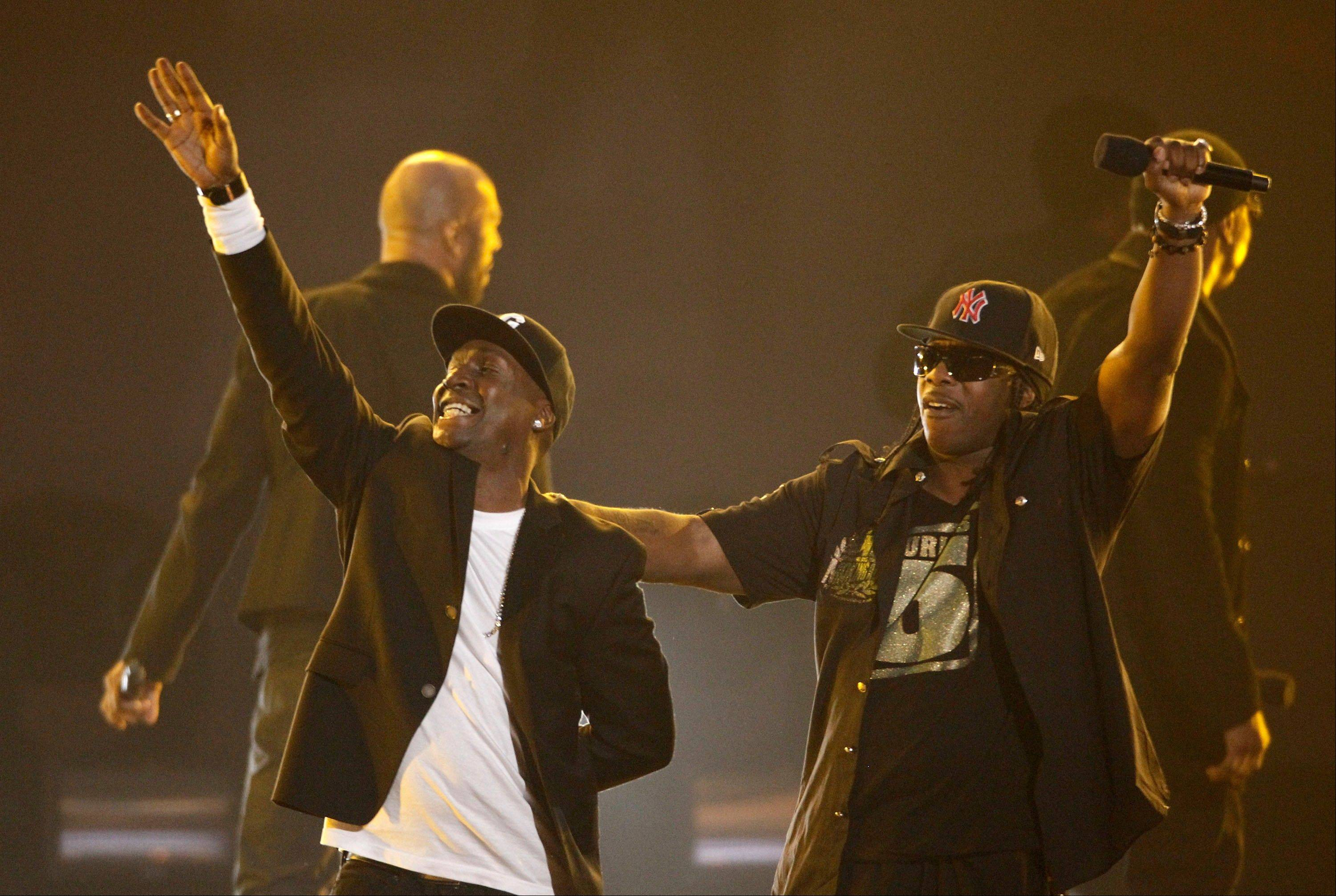 Grandmaster Flash, left, and Scorpio perform Wednesday at the Grammy Nominations Concert in Los Angeles.