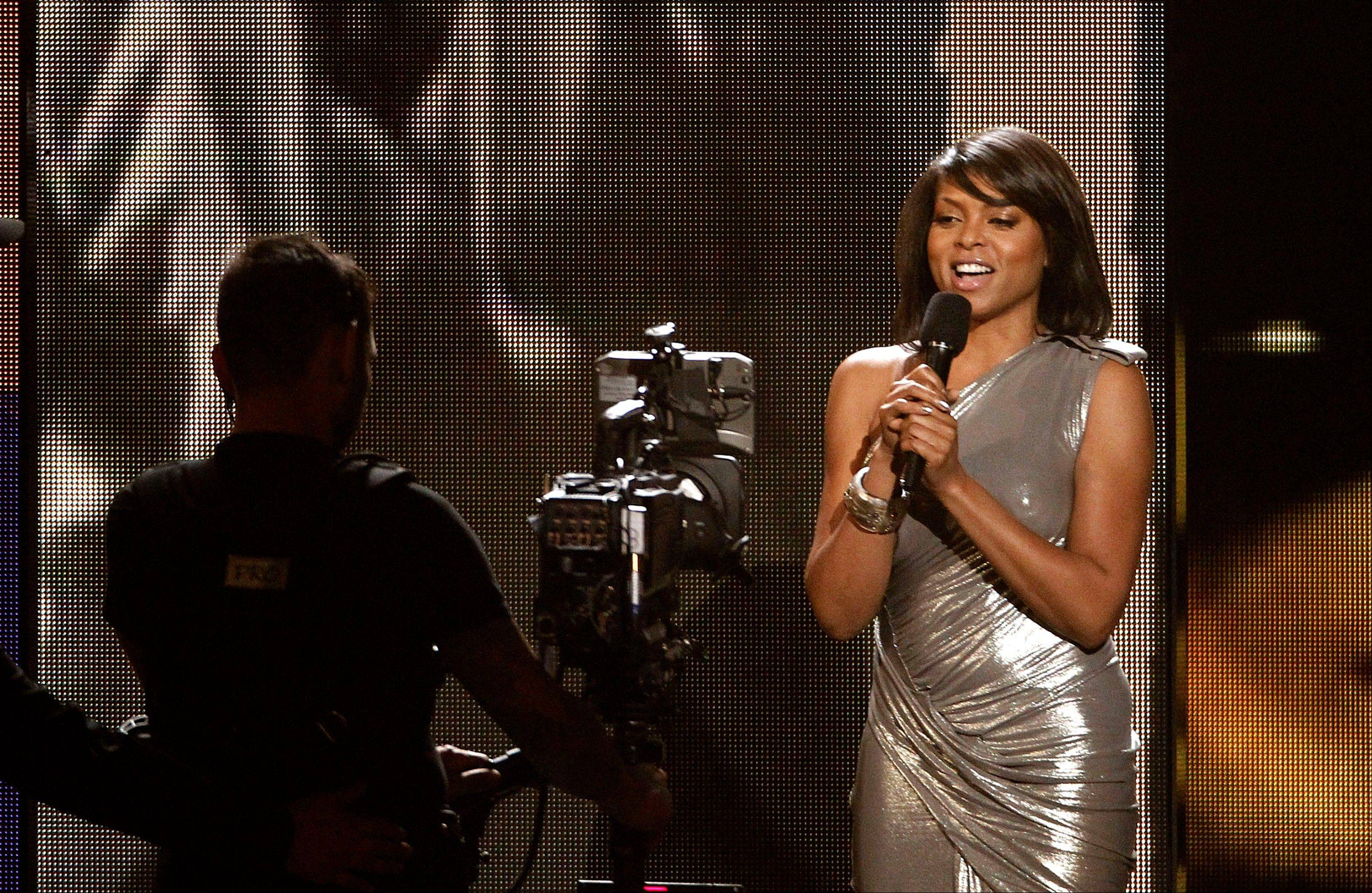 Taraji P. Henson announces the nominees for song of year Wednesday at the Grammy Nominations Concert in Los Angeles.
