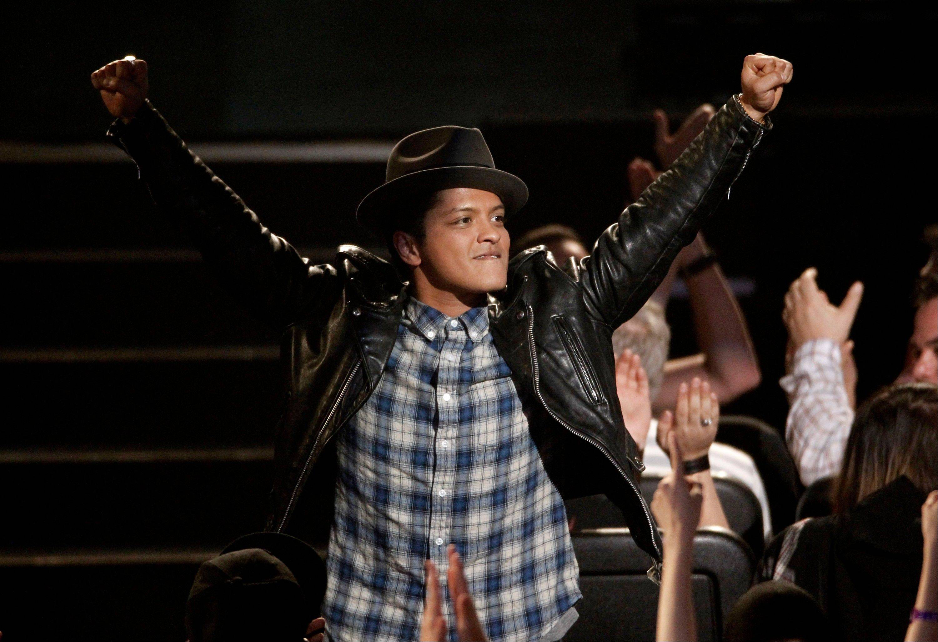 Bruno Mars is seen Wednesday at the Grammy Nominations Concert in Los Angeles.