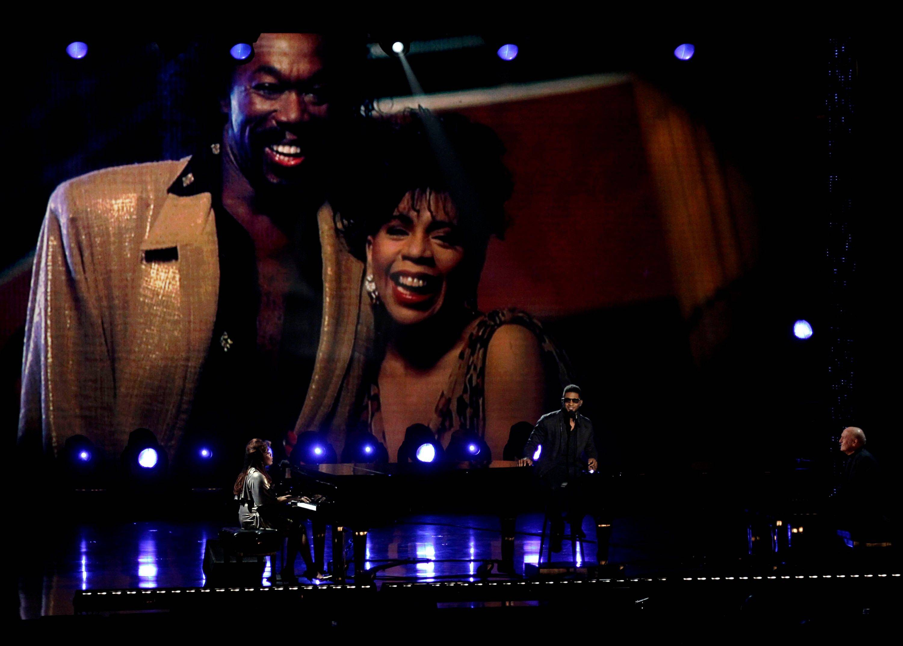 Valerie Simpson, left, and Usher perform Wednesday during a salute to Nick Ashford and Jerry Leiber in Los Angeles.