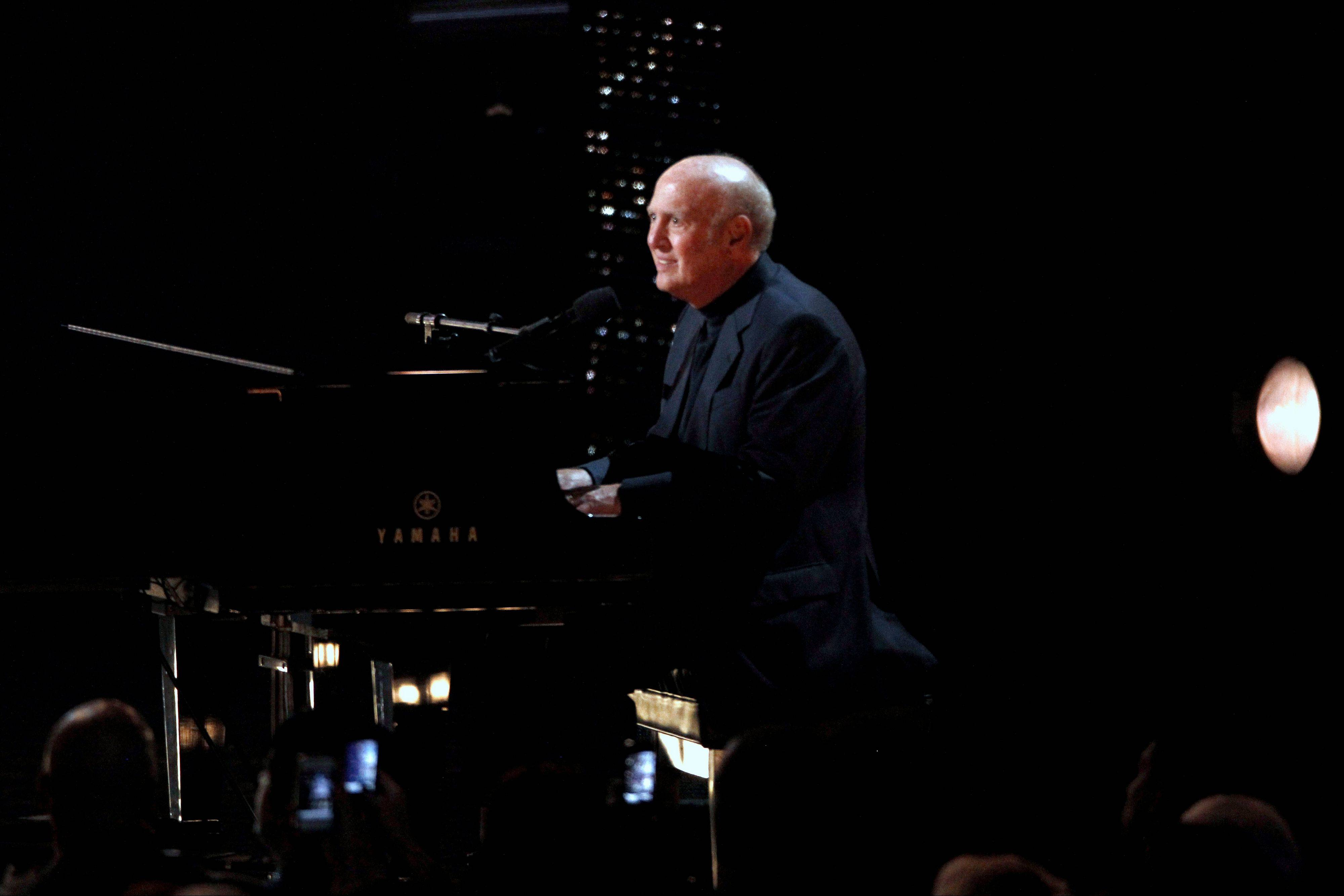 Mike Stoller performs a salute to Nick Ashford and Jerry Leiber Wednesday at the Grammy Nominations Concert in Los Angeles.