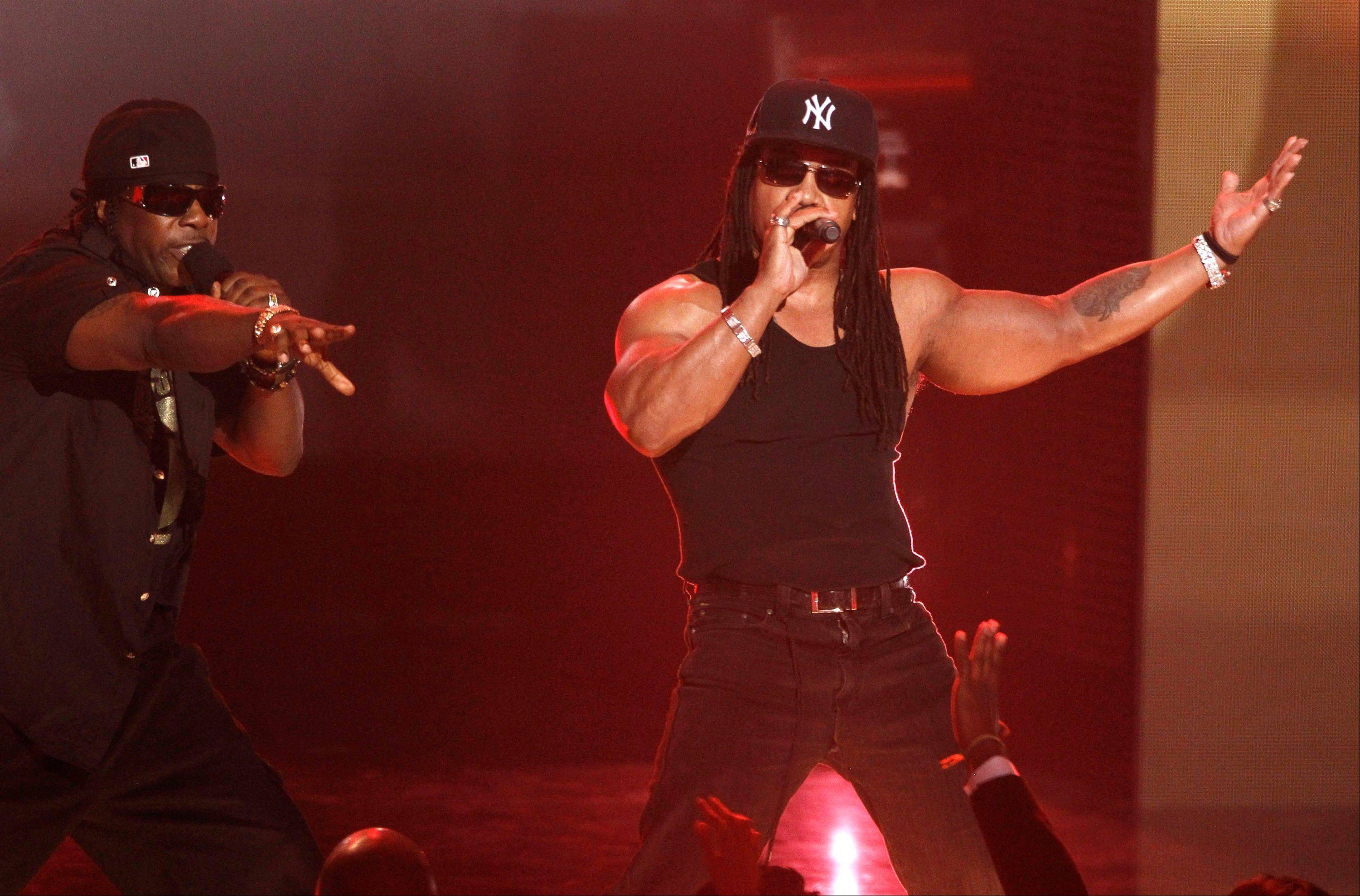 Scorpio, left and Melle Mel perform Wednesday at the Grammy Nominations Concert in Los Angeles.