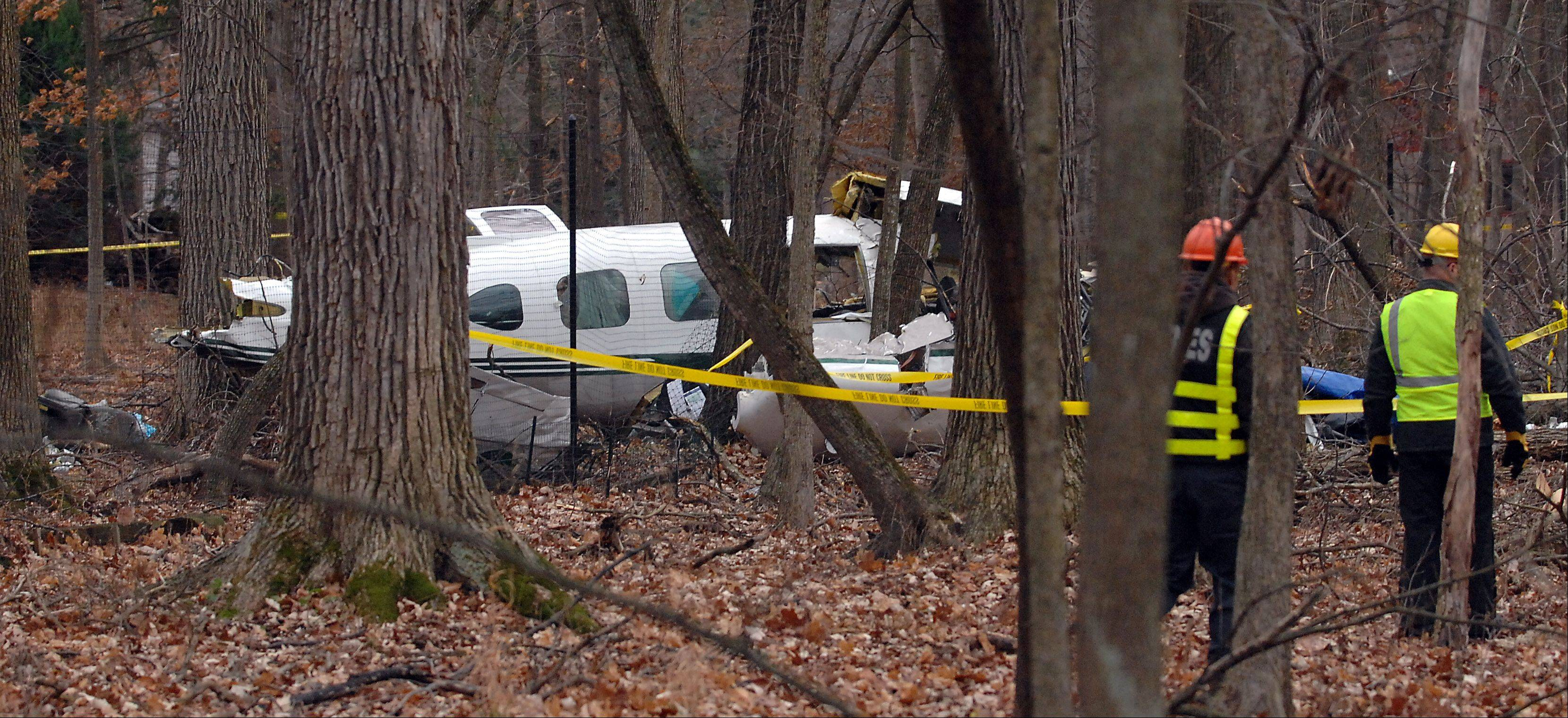 Officials look to cut down trees in order to remove the Riverwood's plane crash which killed three people last night around 10:50 p.m. near Portwine Rd. and Orange Brace Rd.