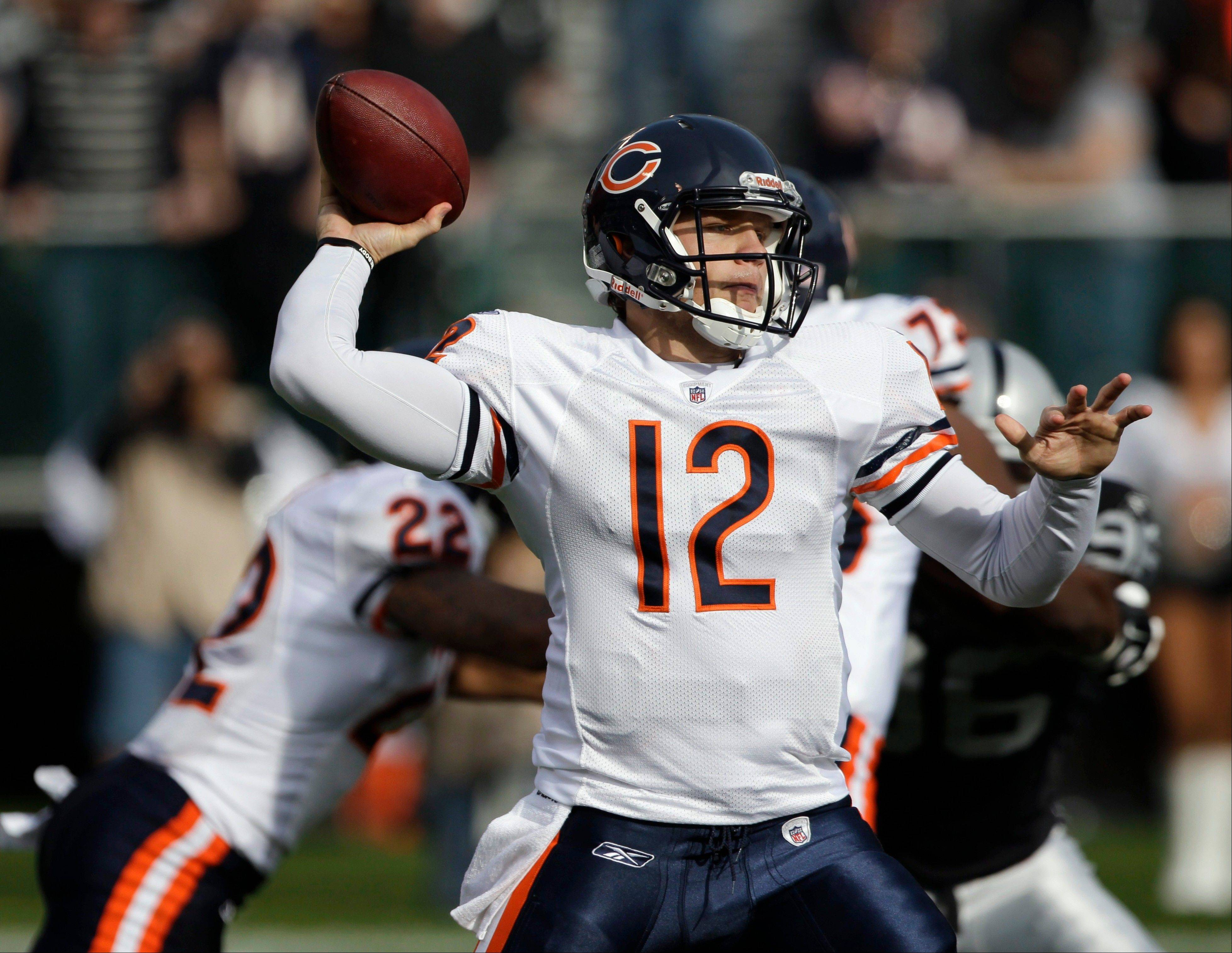 "Bears quarterback Caleb Hanie says after watching tape of Sunday's effort at Oakland, ""It wasn't as bad as it might have felt after the game."""