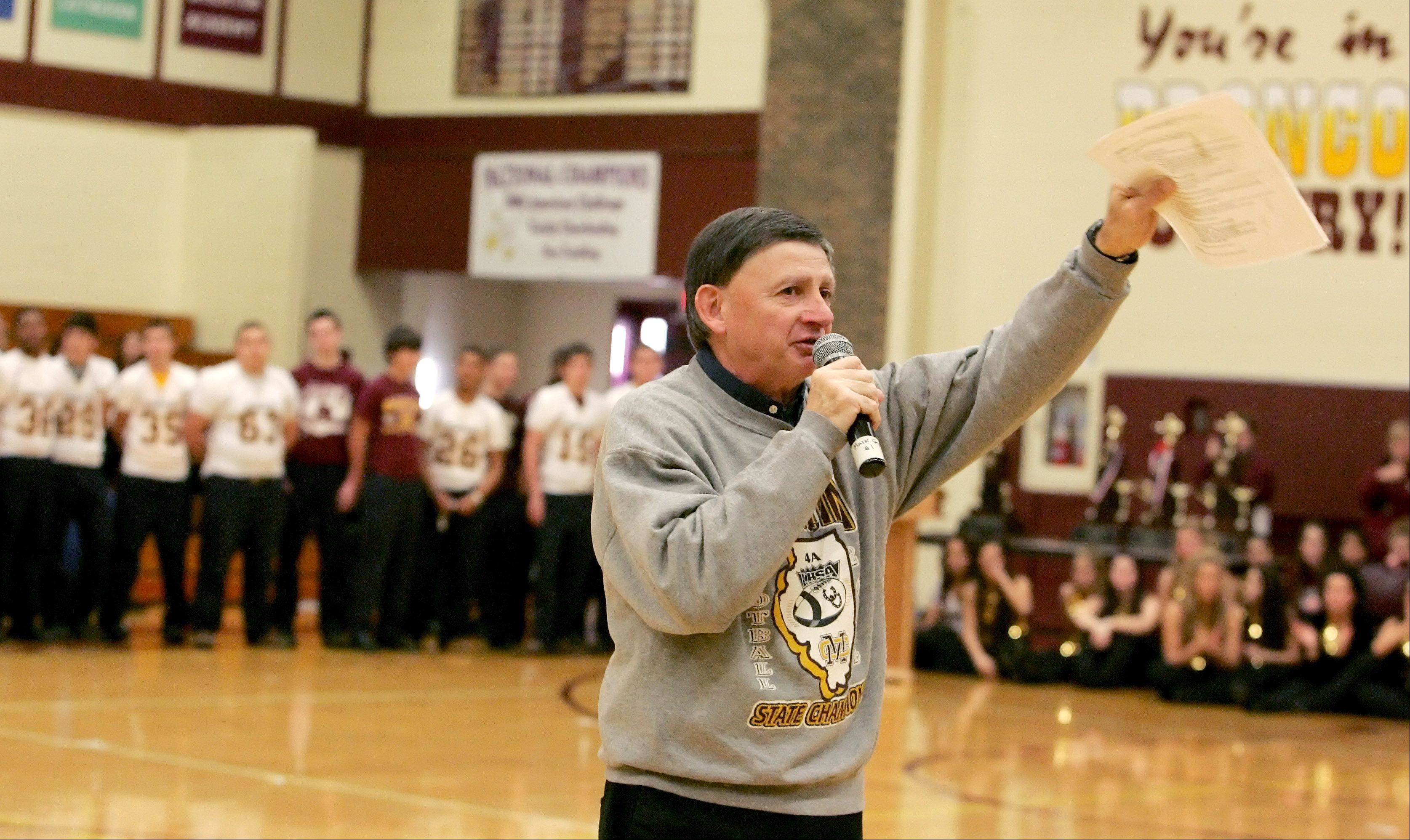 Montini football coach Chris Andriano speaks about the team that won the school's third consecutive Class 5A state championship.