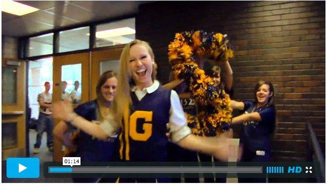 "Early on in Glenbrook South's 50th-anniversary ""Lip Dub"" video, a cheerleader leads the crowd, and the camera, up the stairs and through a hallway."