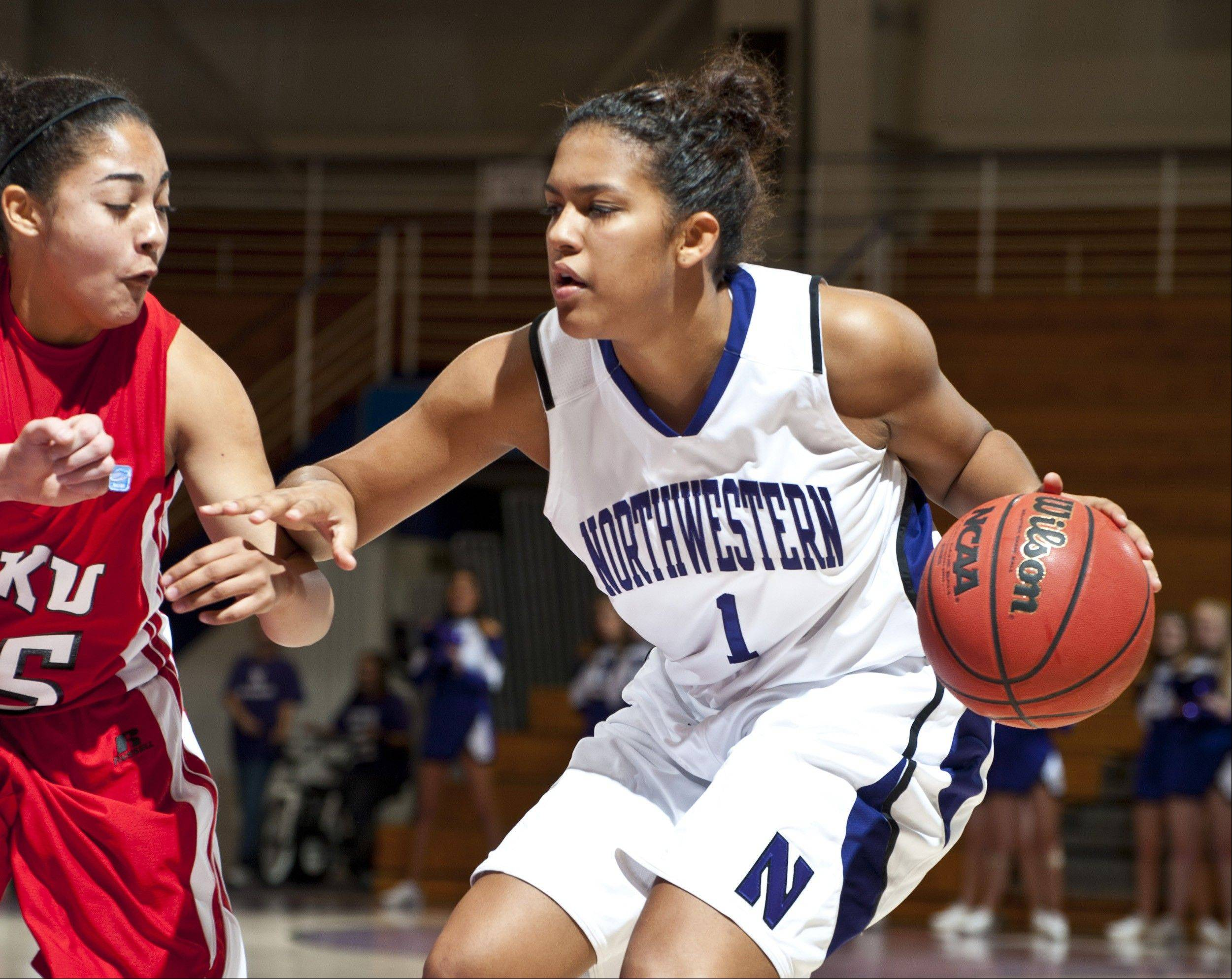 Northwestern freshman guard Morgan Jones, here working against Western Kentucky, is playing more than 30 minutes a game for the Wildcats this season.