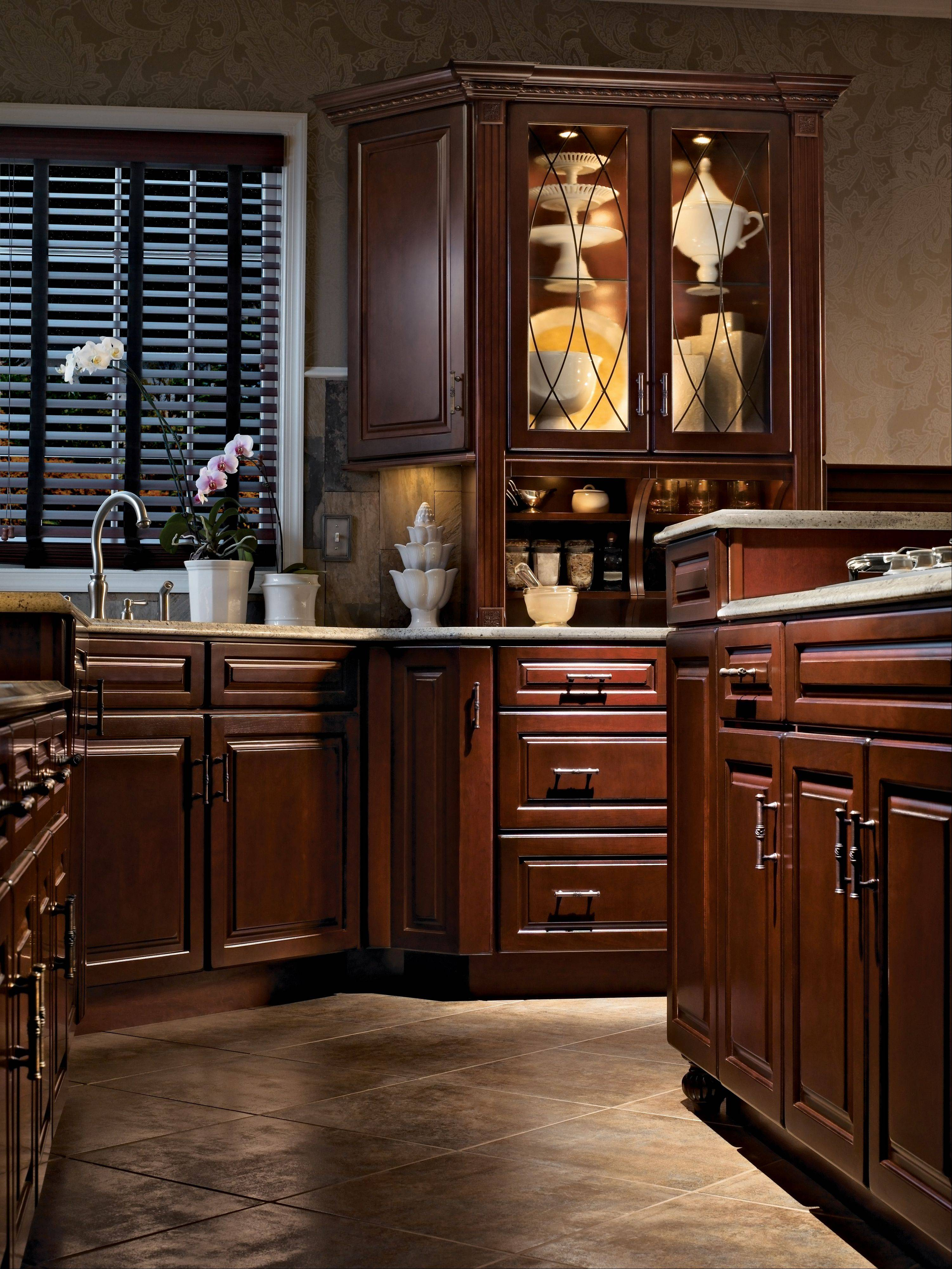 This KraftMaid Cabinetry Is Made Of Cherry Wood, With The Burnished Cabernet  Finish. KraftMaid