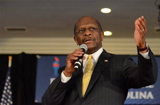 Republican presidential candidate Herman Cain speaks to supporters Saturday at The Magnolia Room at Laurel Creek in Rock Hill, S.C.