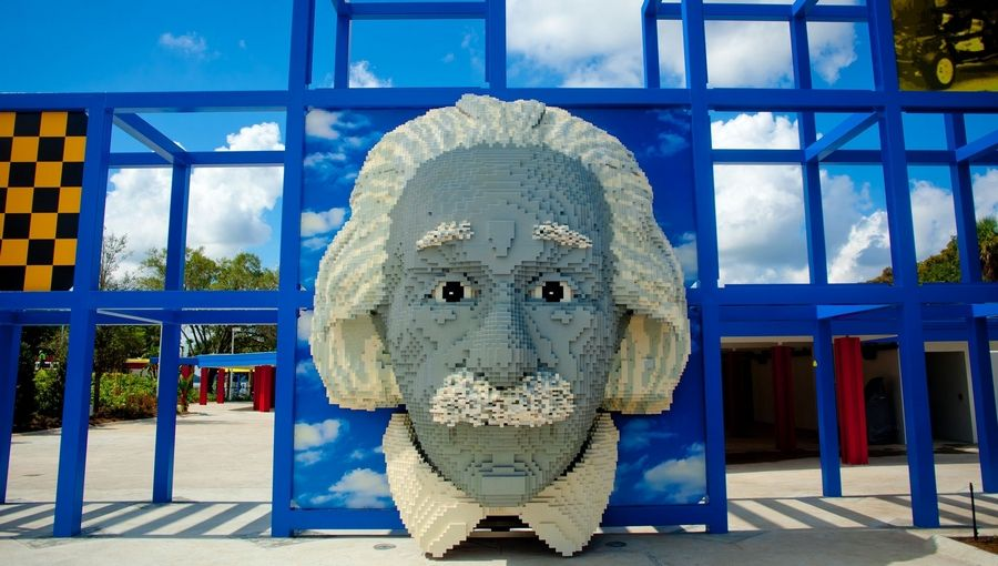 An Albert Einstein made of Legos greets visitors to Legoland Florida's Imagination Zone. Illustrates FLA-LEGOLAND (category t), by Paul Abercrombie, special to The Washington Post. Moved Tuesday, Nov. 29, 2011. (MUST CREDIT: Chip Litherland/Legoland Florida and Merlin Entertainments Group.)