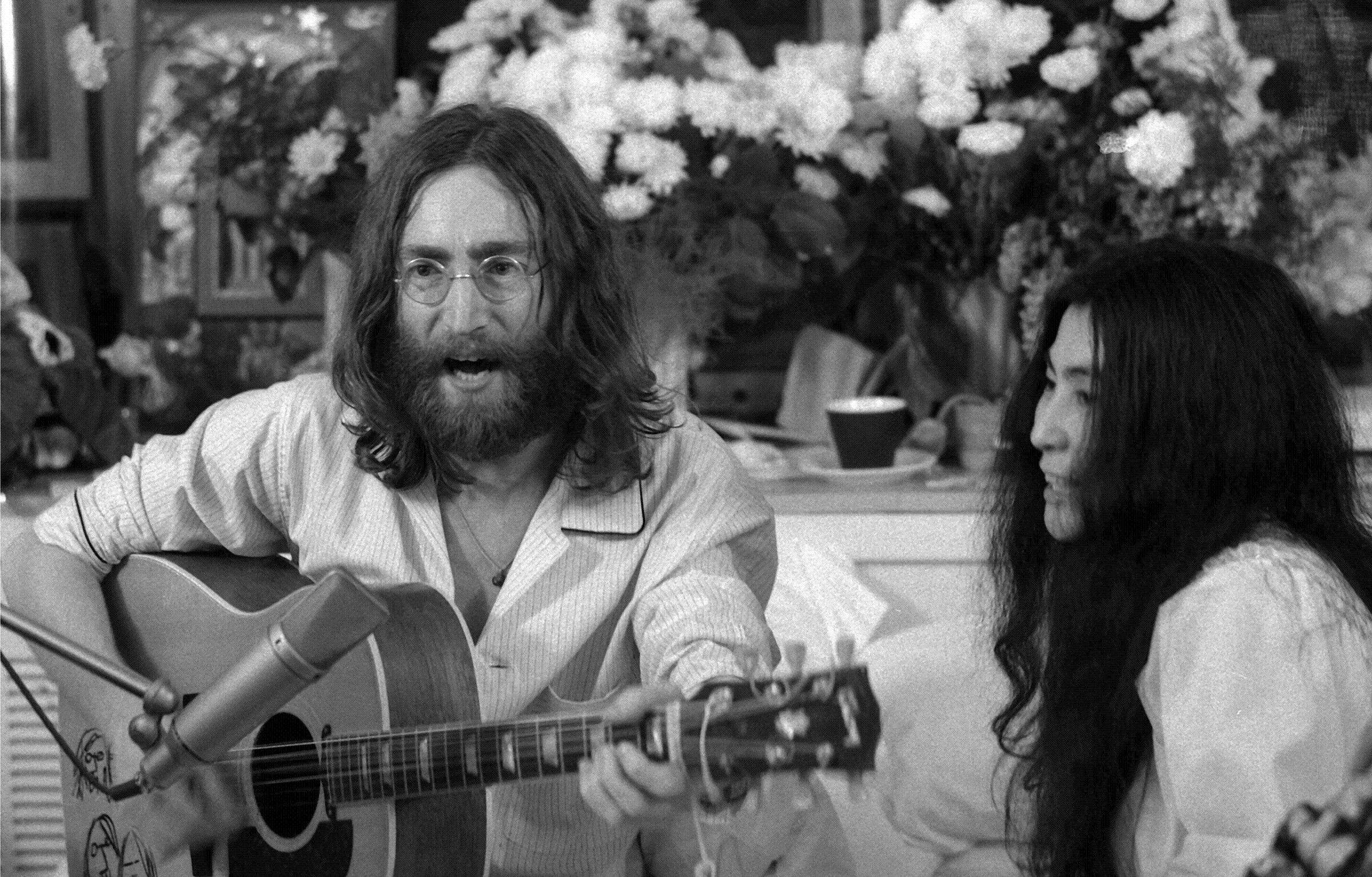 John Lennon, seen here with and wife Yoko Ono at their 1969 bed-in event, was killed 31 years ago this week in New York City.