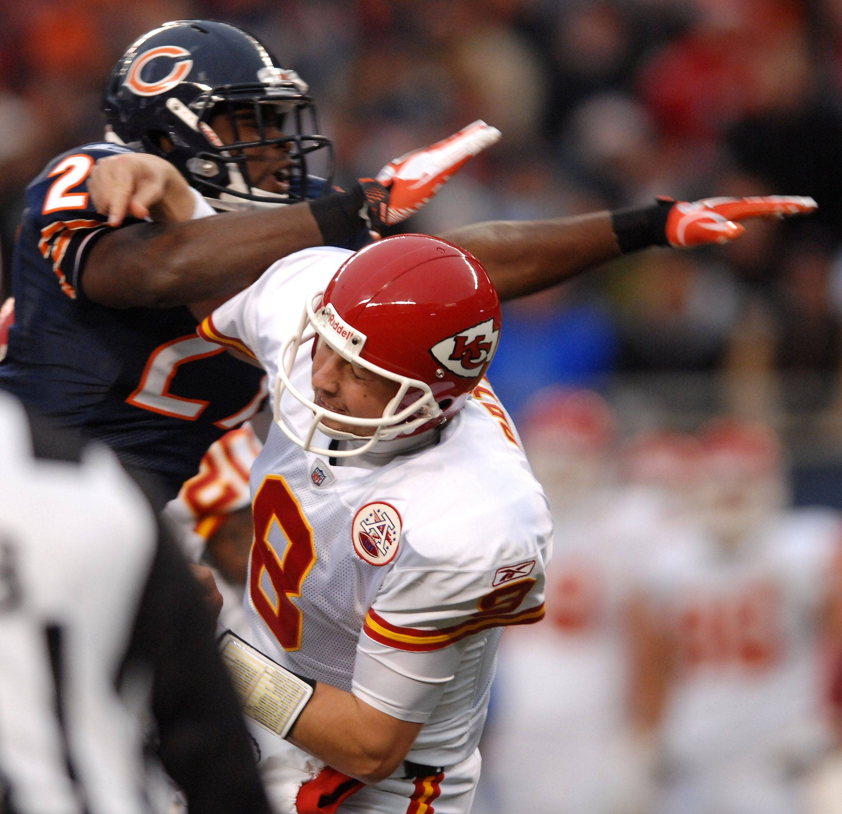 Chiefs quarterback Kyle Orton gets hit by Bears safety Major Wright on Orton's only play in Sunday's game.