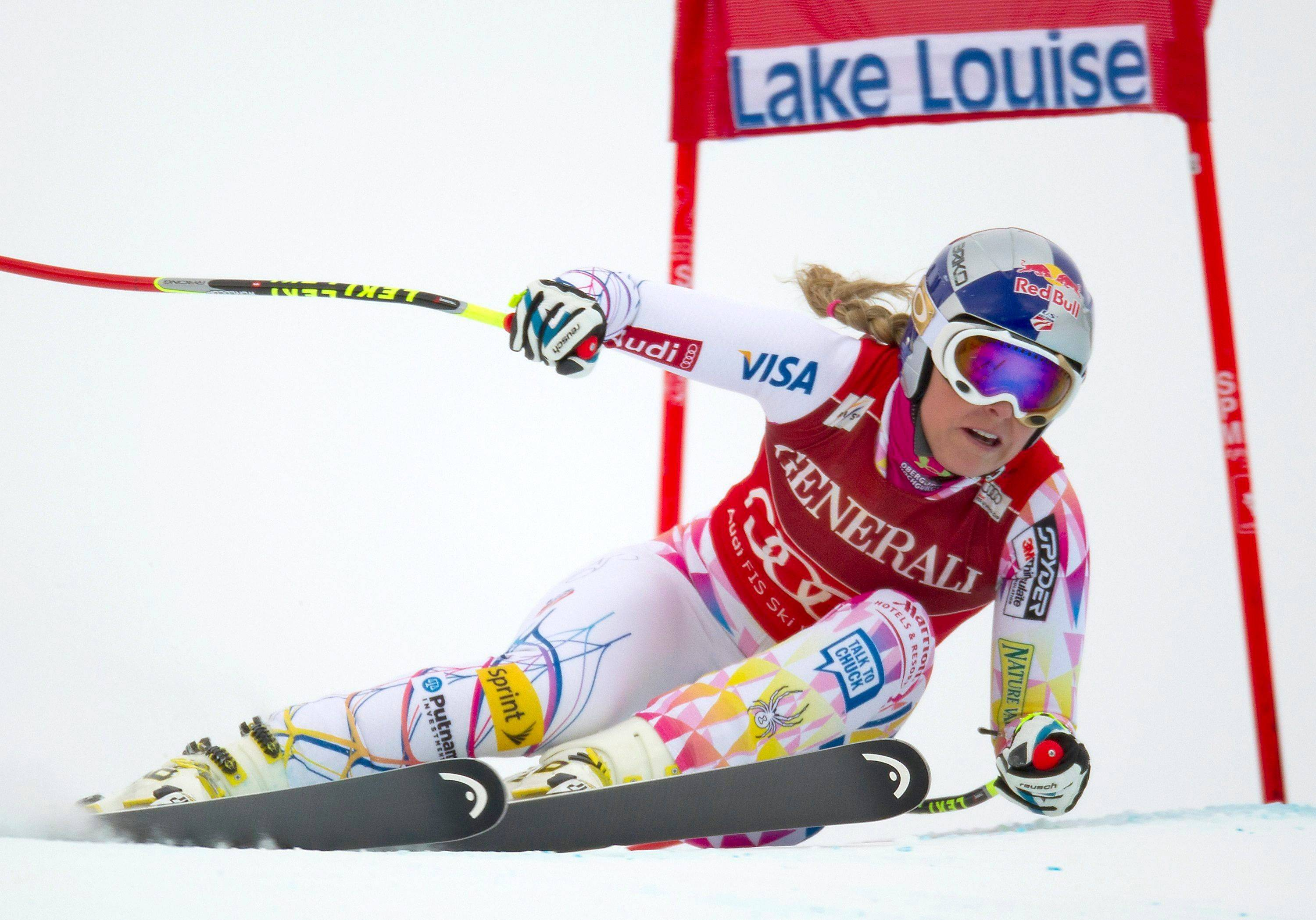 Lindsey Vonn of the United States blasts down the course on her way to winning the women's World Cup downhill ski race in Lake Louise, Alberta, on Saturday.